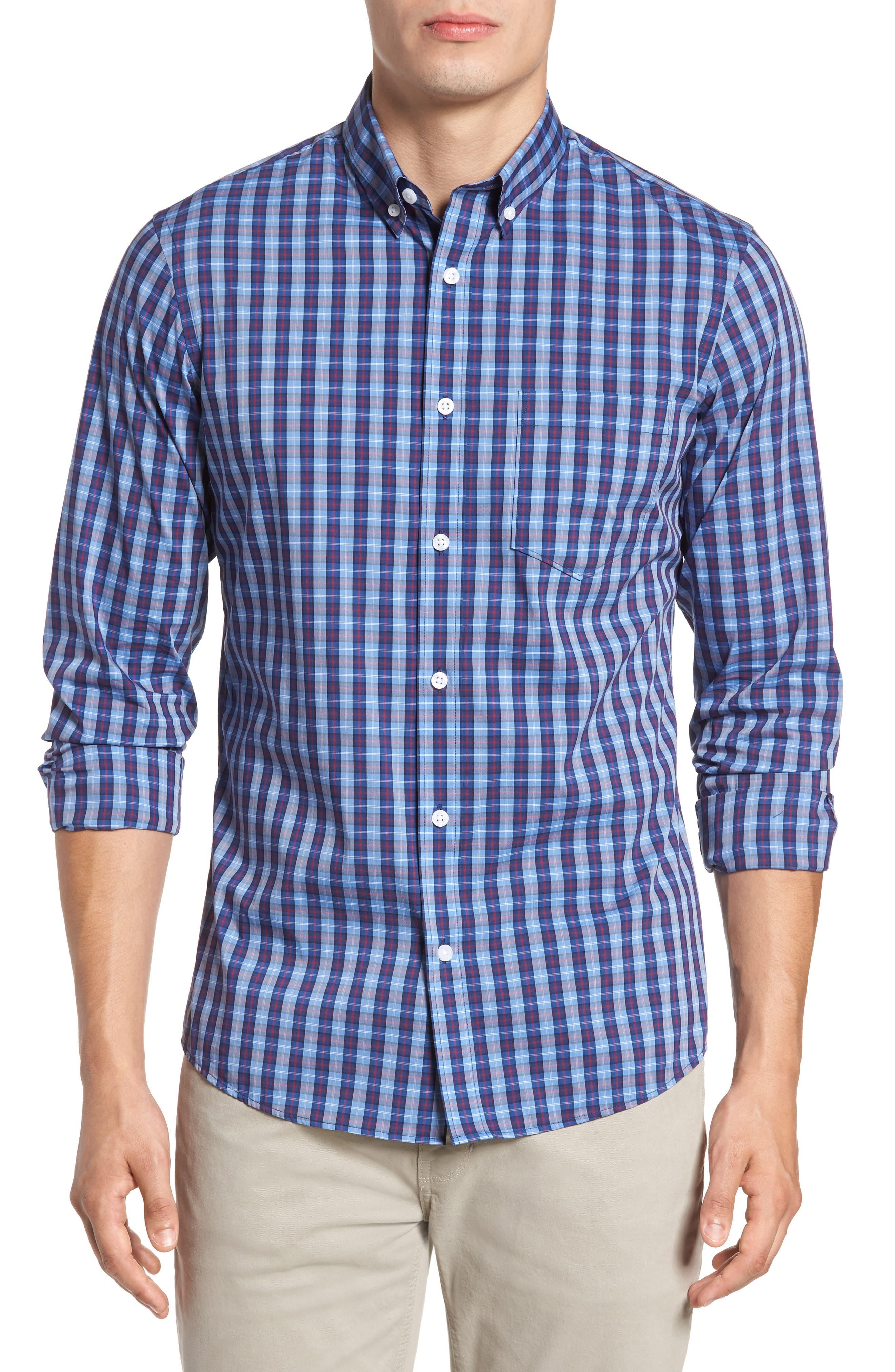 Trim Fit Tech-Smart Plaid Sport Shirt,                             Main thumbnail 1, color,                             Blue Hydrangea Navy Plaid