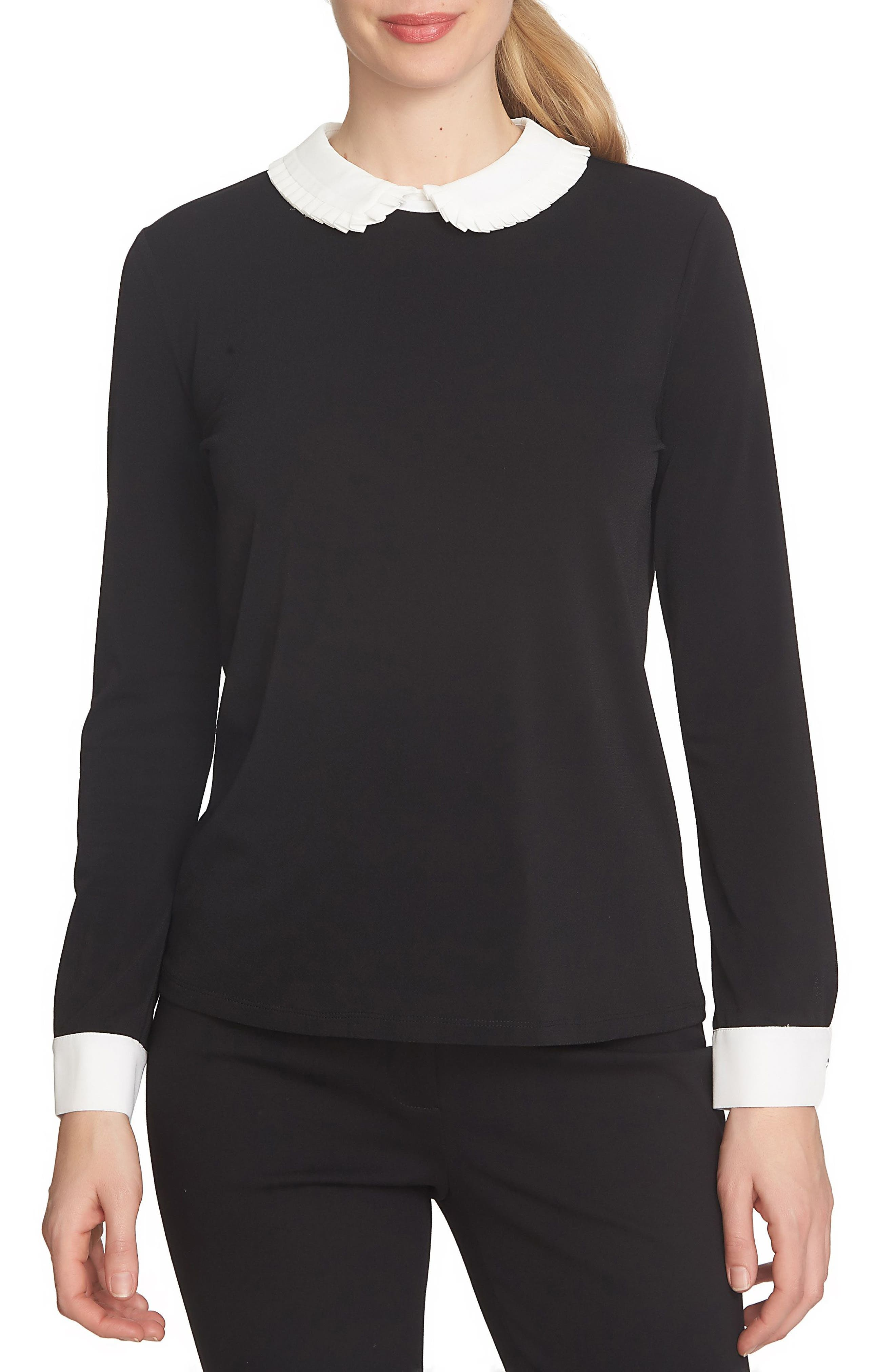 Contrast Pleat Collar Top,                         Main,                         color, Rich Black