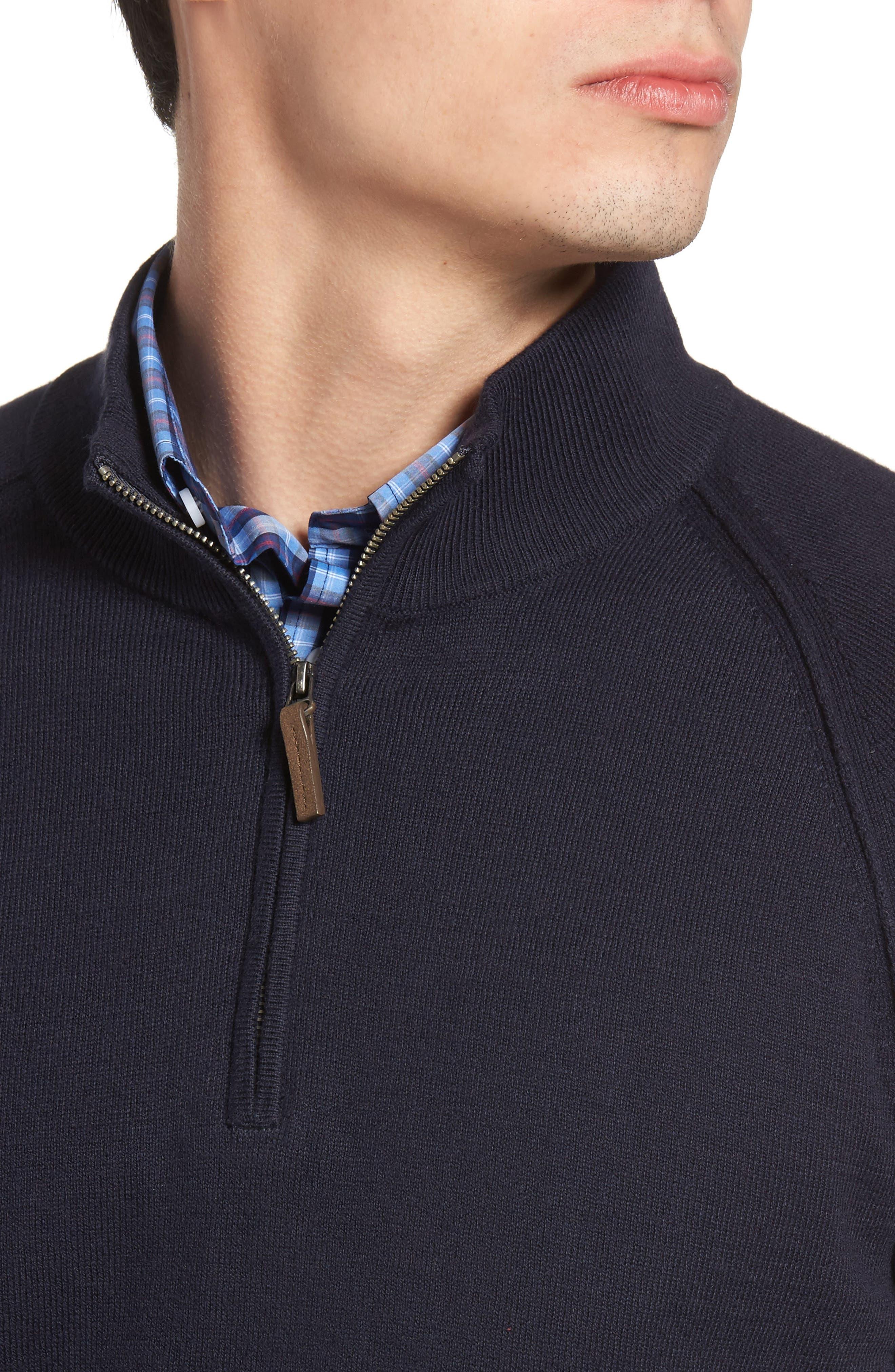 Alternate Image 4  - Nordstrom Men's Shop Saddle Shoulder Quarter Zip Cotton & Cashmere Pullover