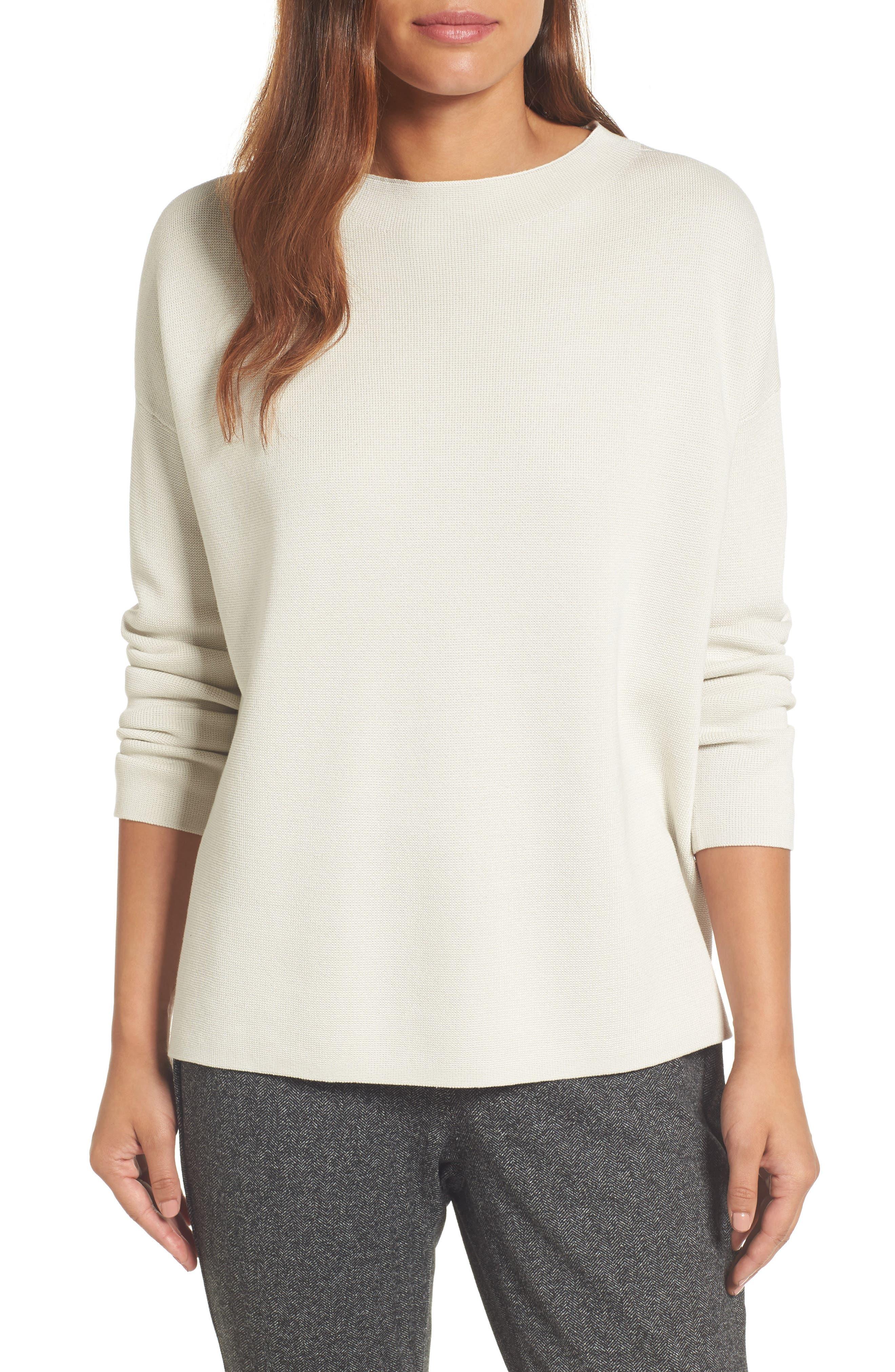 Mock Neck Box Silk & Organic Cotton Sweater,                             Main thumbnail 1, color,                             Bone
