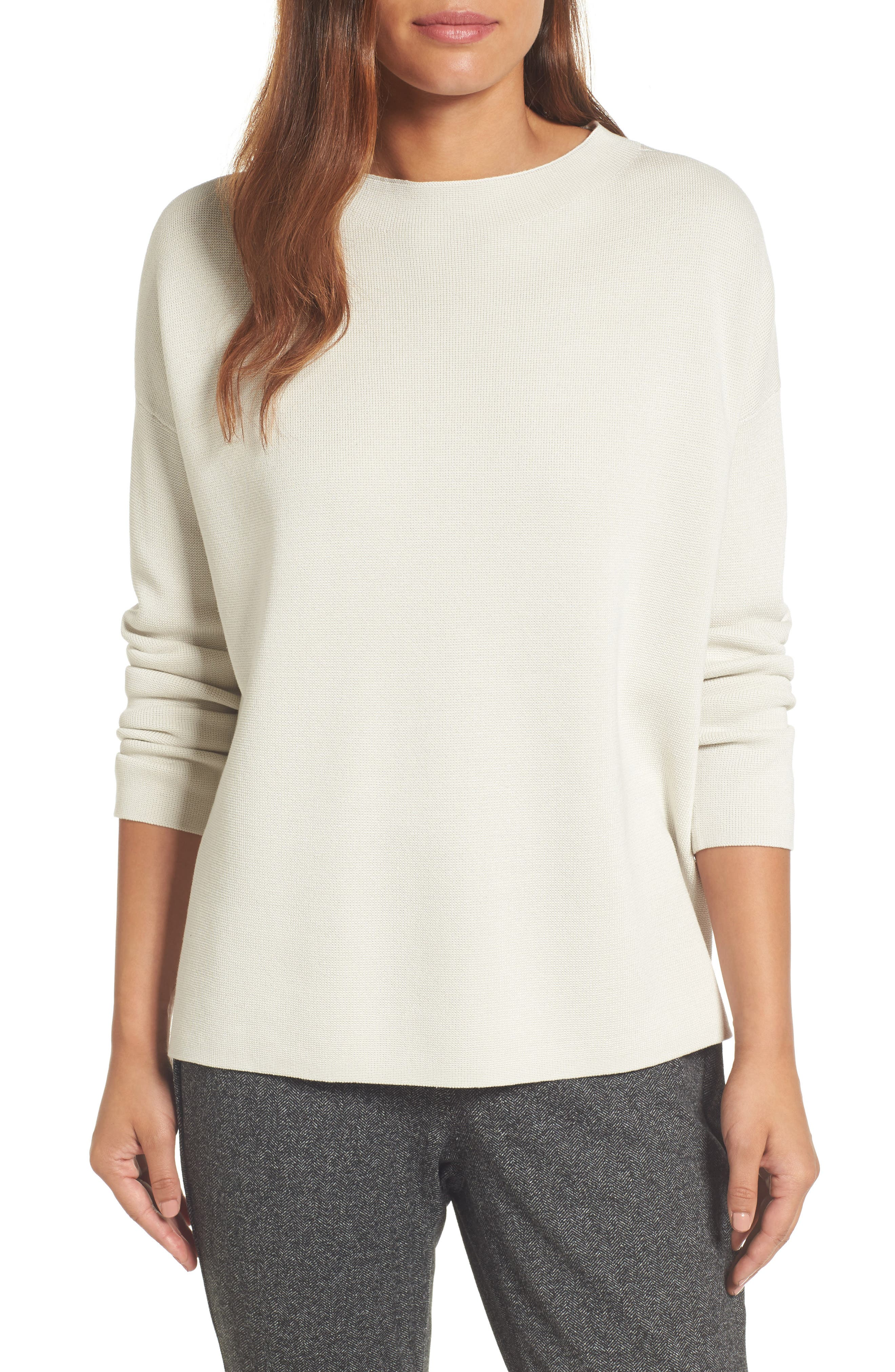Mock Neck Box Silk & Organic Cotton Sweater,                         Main,                         color, Bone