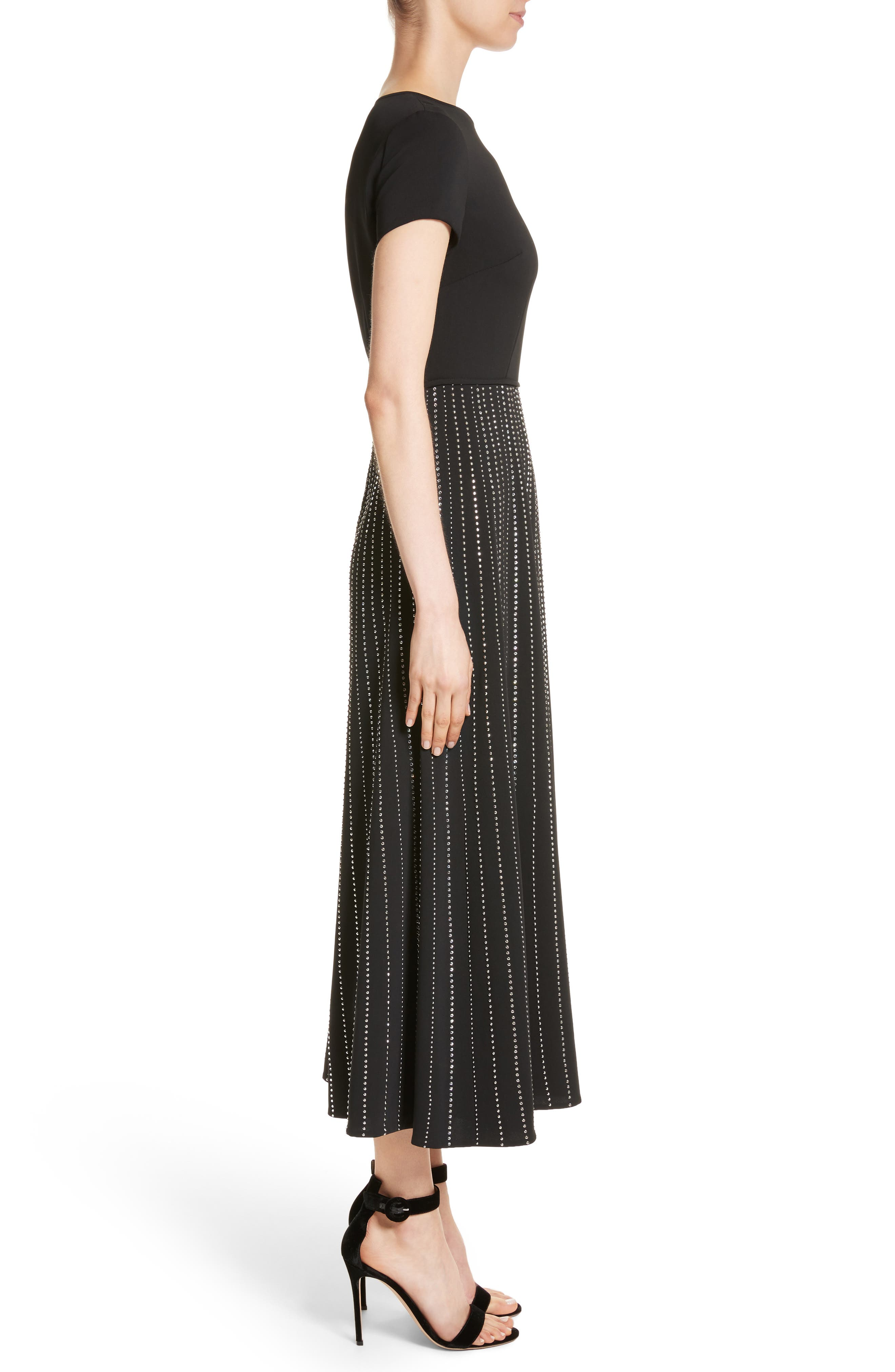 Embellished Stretch Cady Dress,                             Alternate thumbnail 3, color,                             Caviar