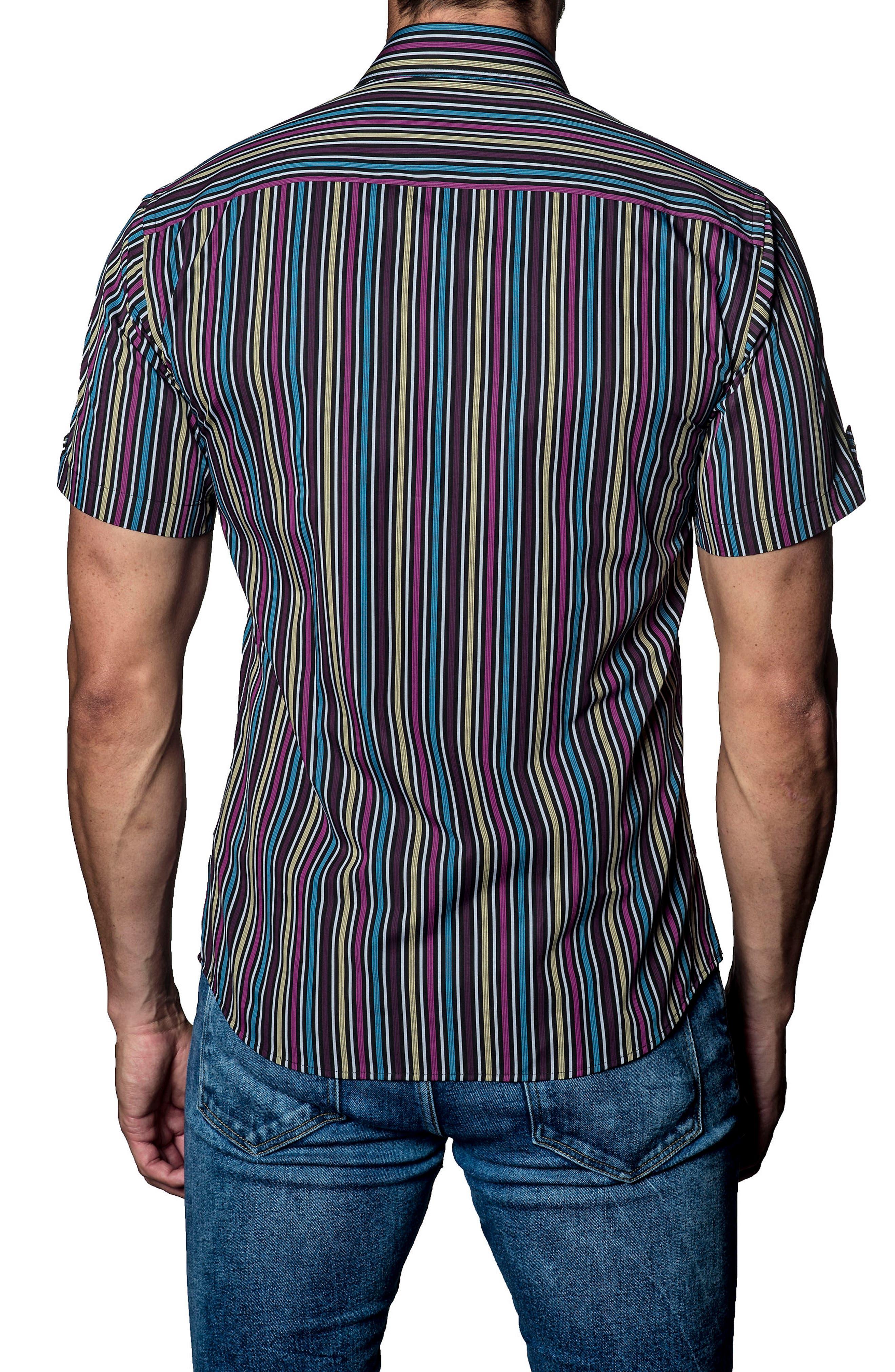 Stripe Sport Shirt,                             Alternate thumbnail 2, color,                             Purple Multi Stripe