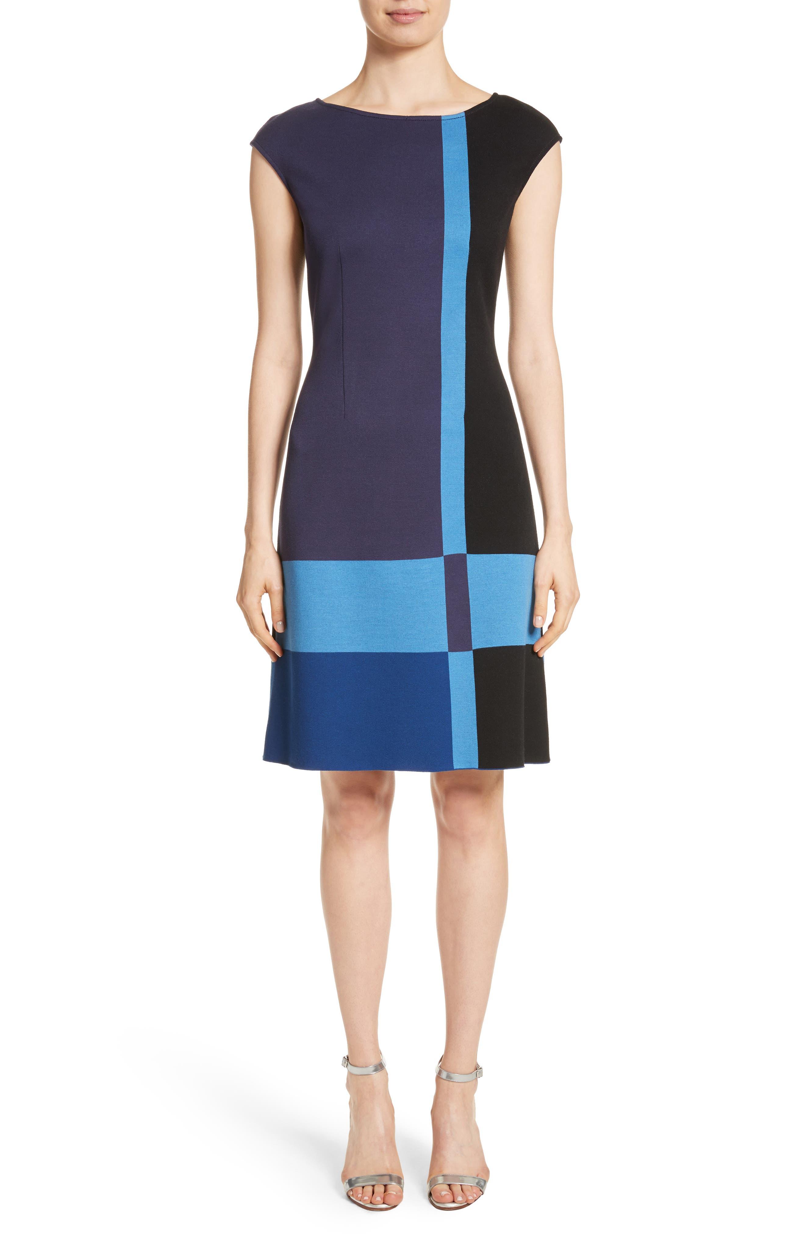 Colorblock Milano Knit Dress,                             Main thumbnail 1, color,                             Navy Multi
