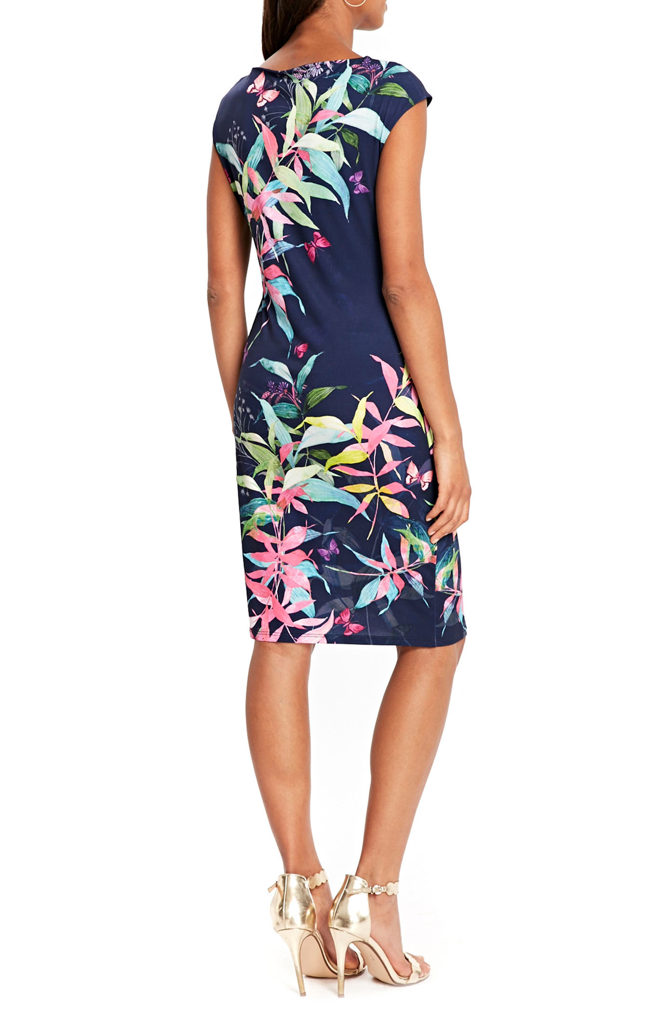 Midnight Blossom Faux Wrap Dress,                             Alternate thumbnail 3, color,                             Ink