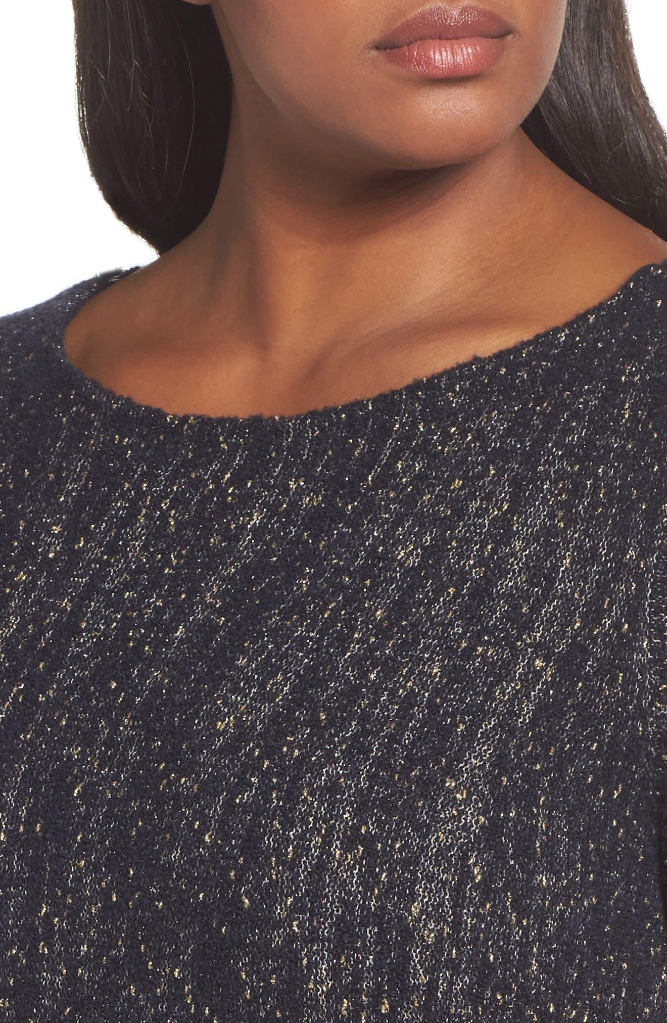 Alternate Image 4  - Lafayette 148 Metallic Knit A-Line Sweater (Plus Size)