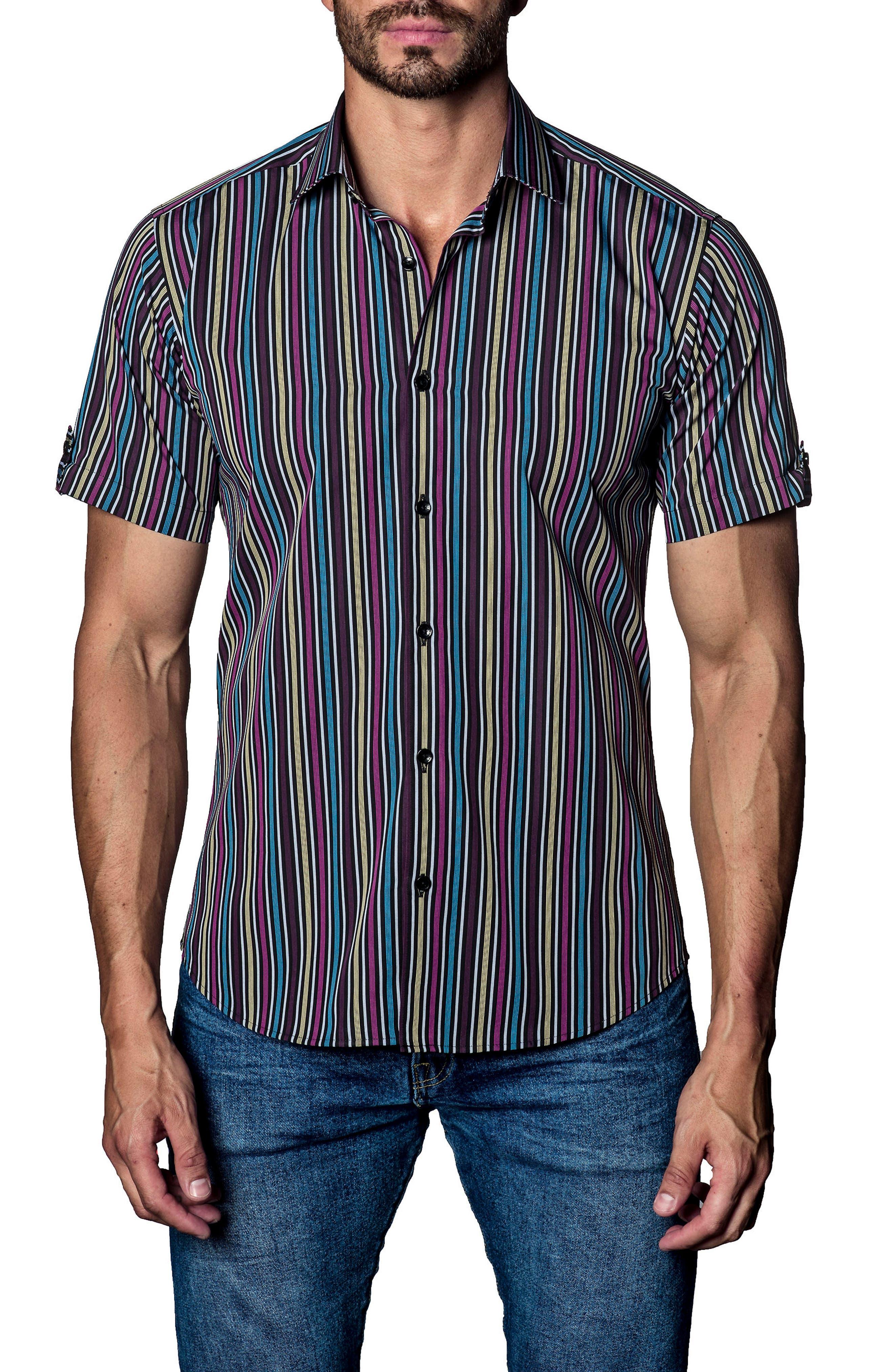 Stripe Sport Shirt,                             Main thumbnail 1, color,                             Purple Multi Stripe