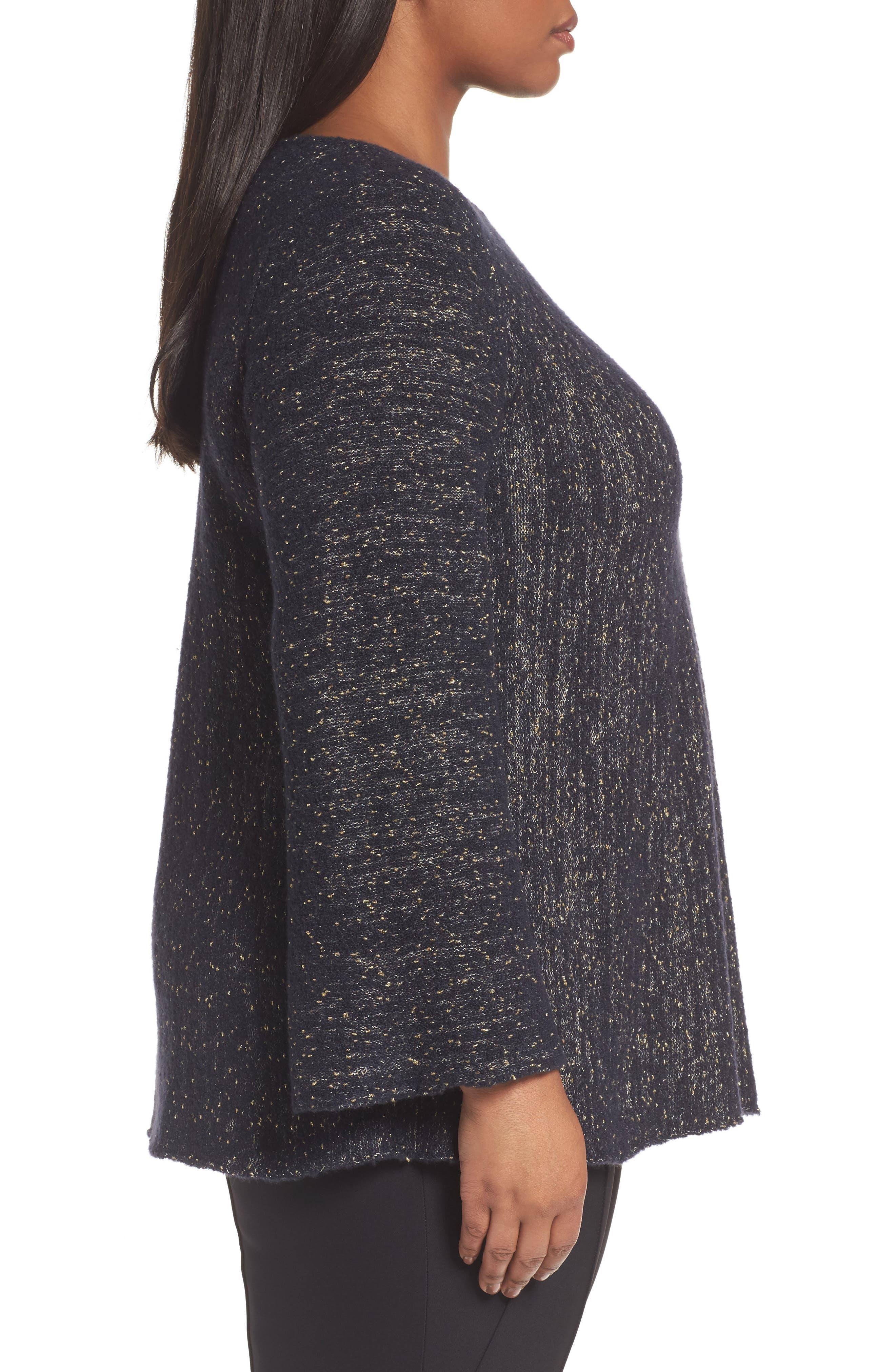 Alternate Image 3  - Lafayette 148 Metallic Knit A-Line Sweater (Plus Size)