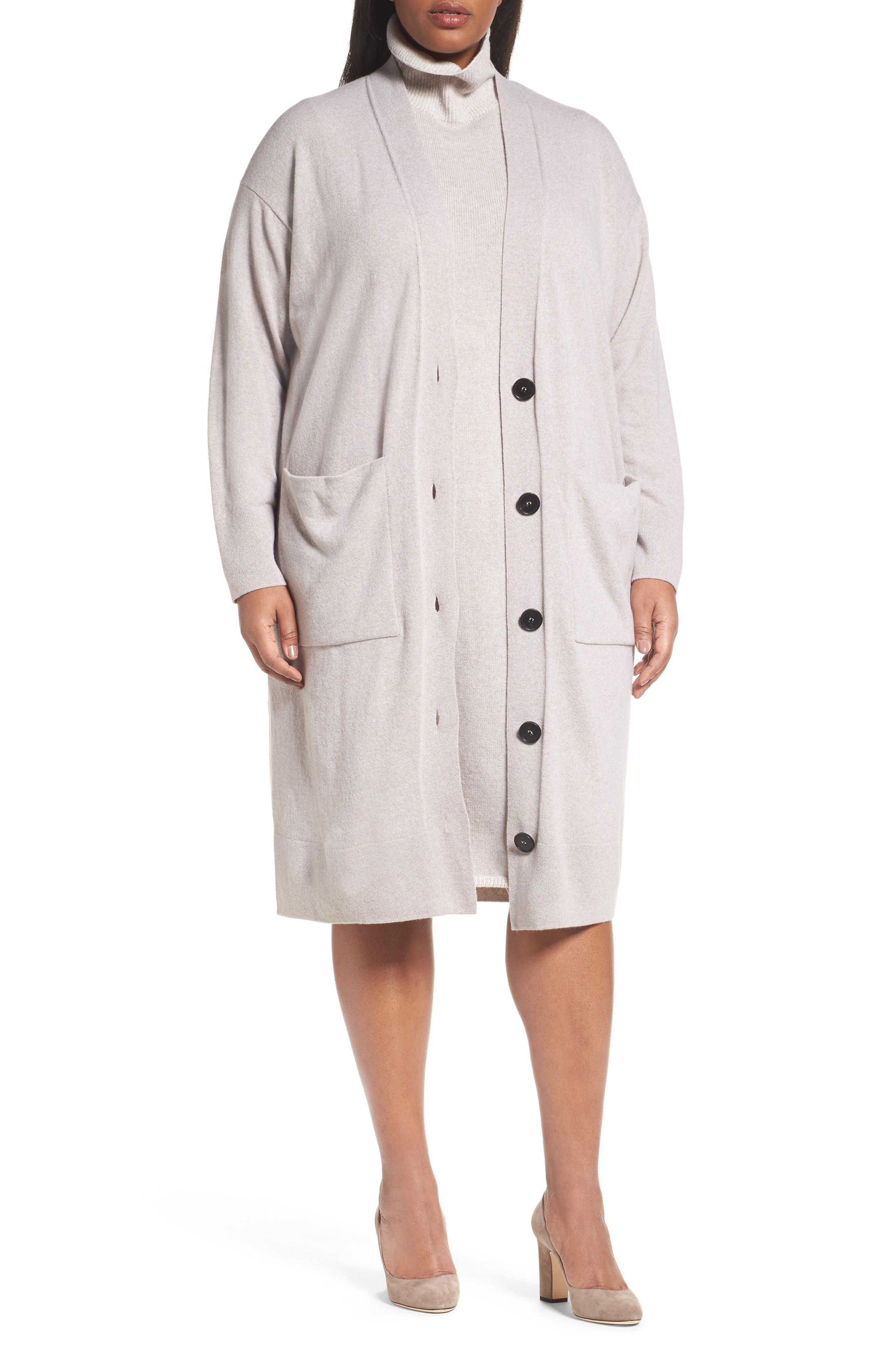 Alternate Image 1 Selected - Lafayette 148 New York Long Merino Wool & Cashmere Cardigan (Plus Size)