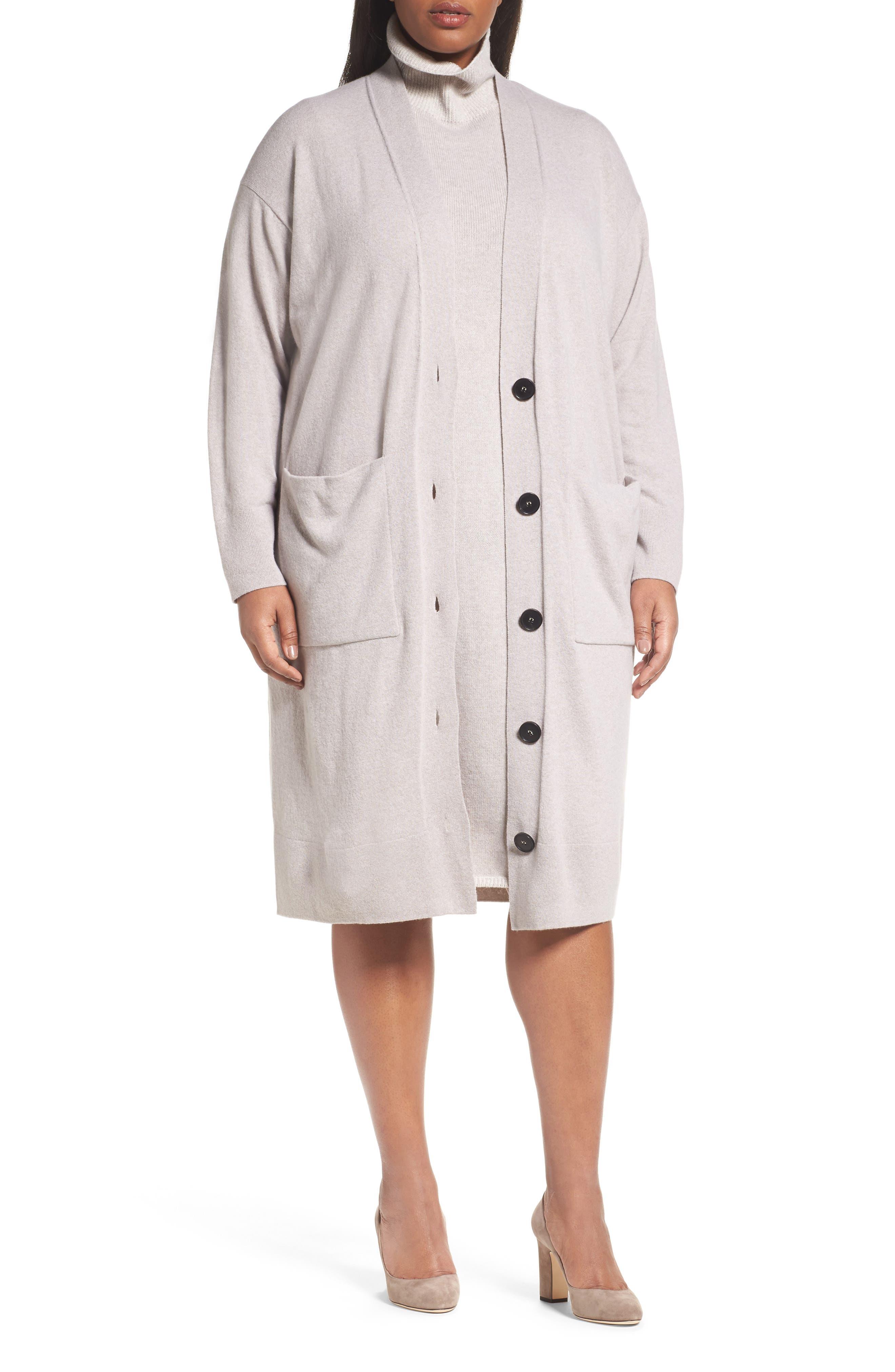 Long Merino Wool & Cashmere Cardigan,                         Main,                         color, Luxor Melange