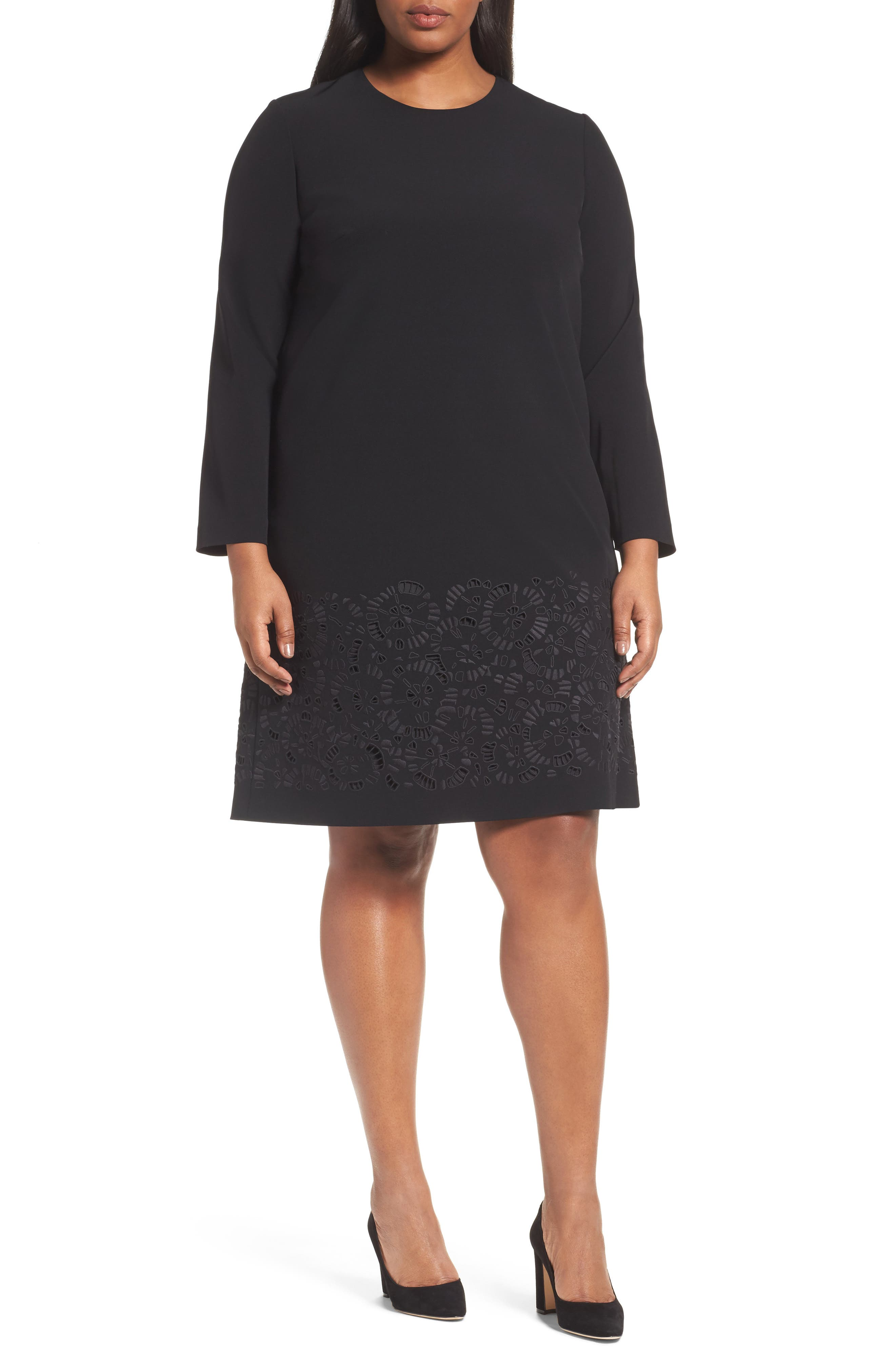Corbin Laser Cut Dress,                             Main thumbnail 1, color,                             Black