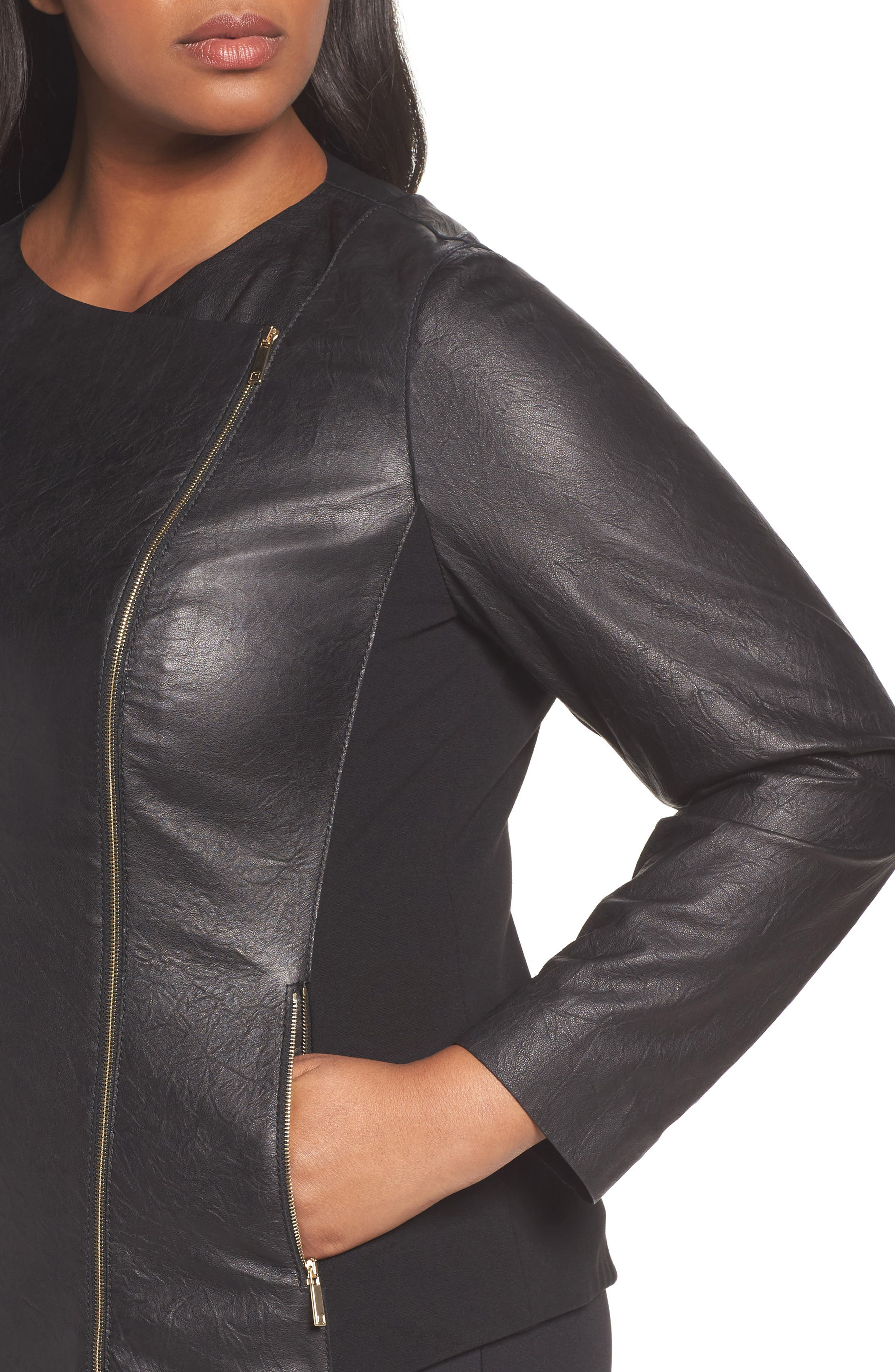 Aimes Leather Jacket,                             Alternate thumbnail 4, color,                             Black