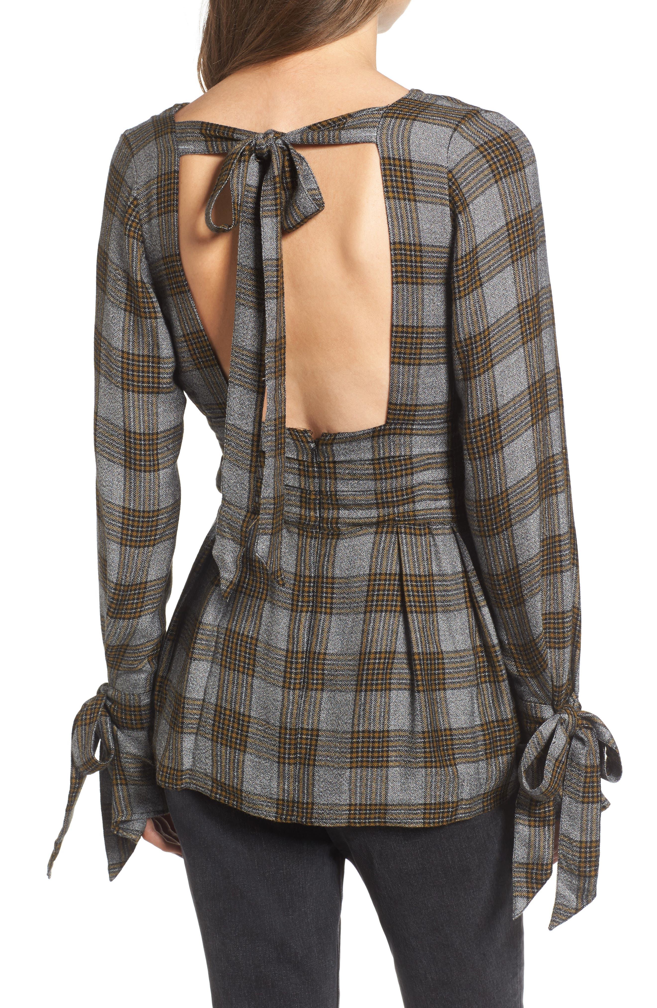 x Something Navy Tie Sleeve Top,                             Alternate thumbnail 3, color,                             Olive Breen Check
