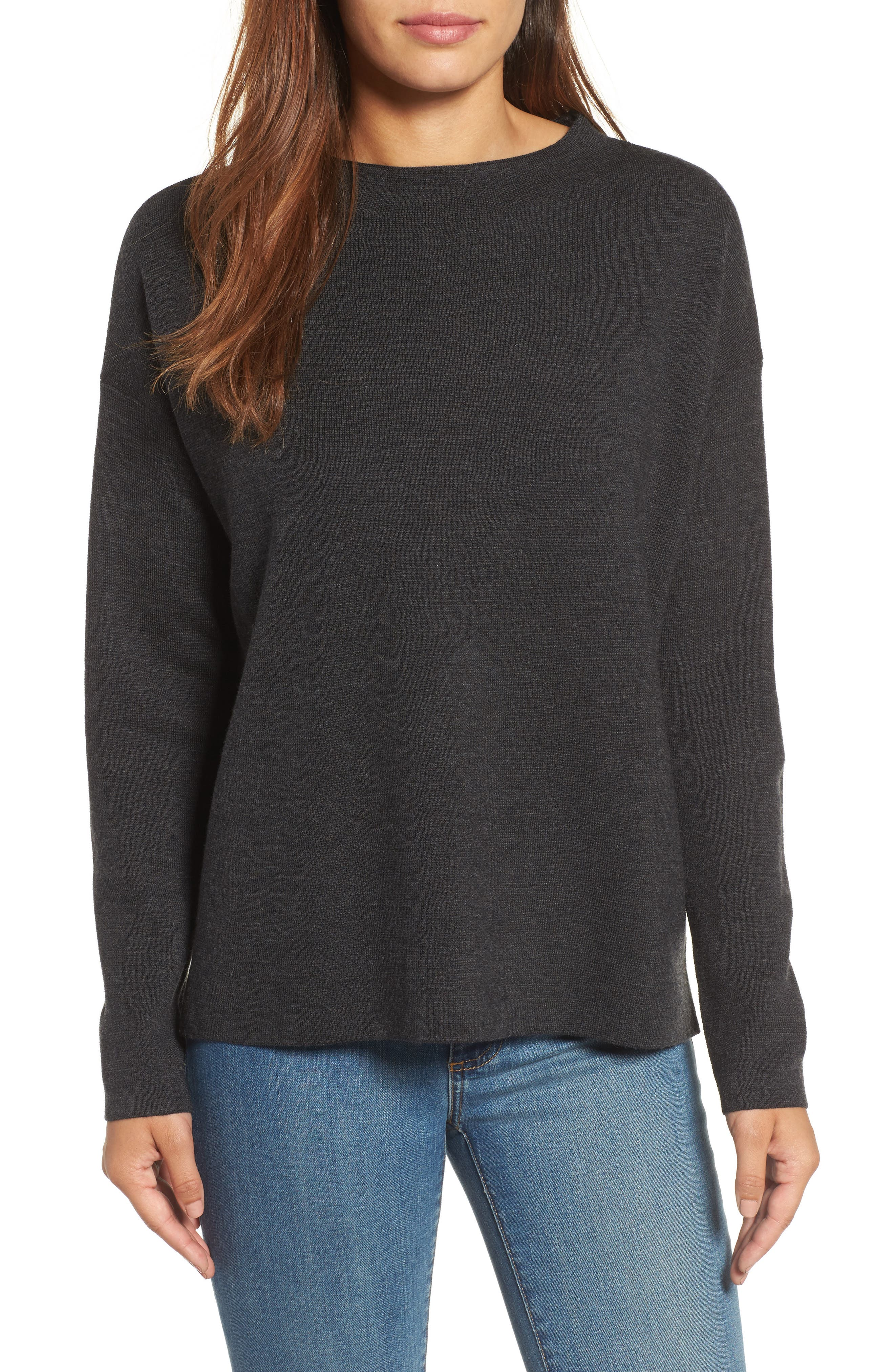 Alternate Image 1 Selected - Eileen Fisher Mock Neck Box Wool Sweater