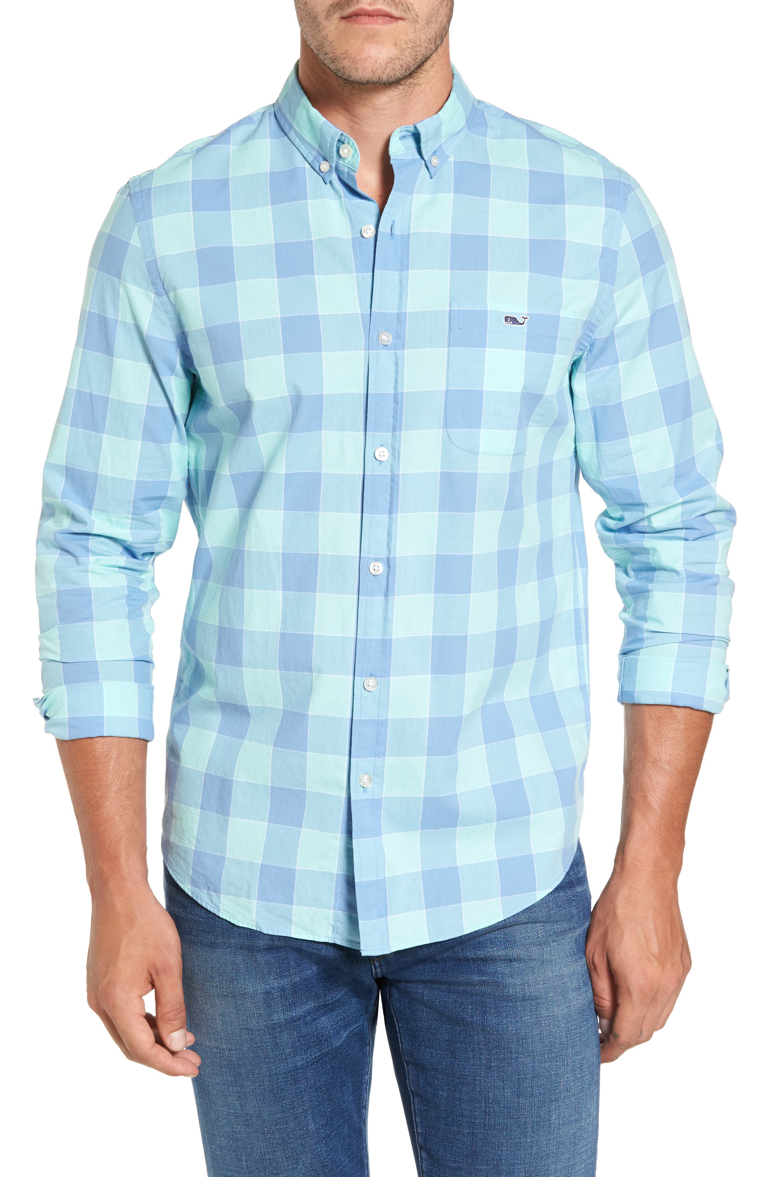 Hideaway Check Tucker Slim Fit Sport Shirt,                             Main thumbnail 1, color,                             Dockside Blue