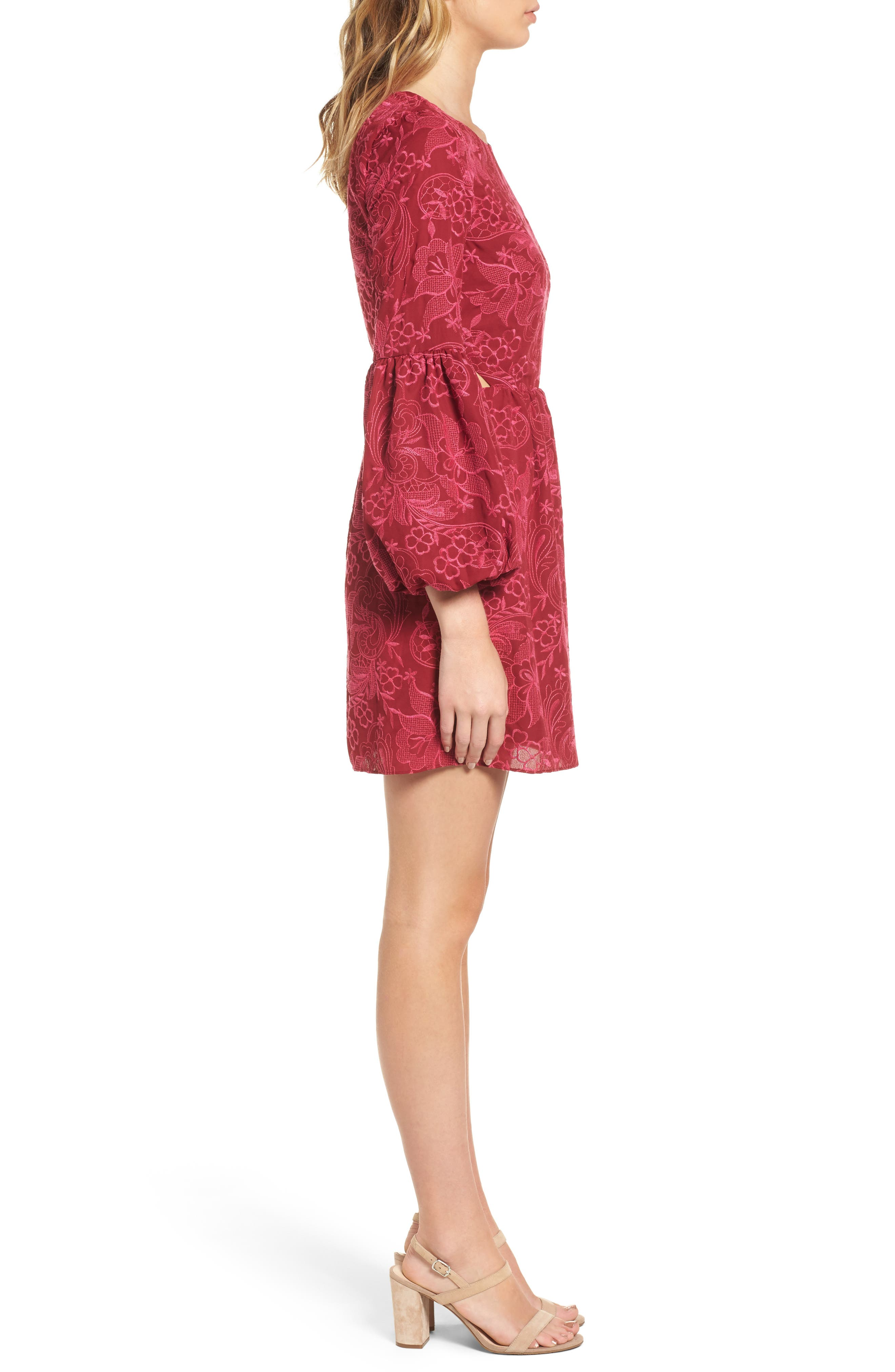 Serafina Bell Sleeve Dress,                             Alternate thumbnail 3, color,                             Shiraz