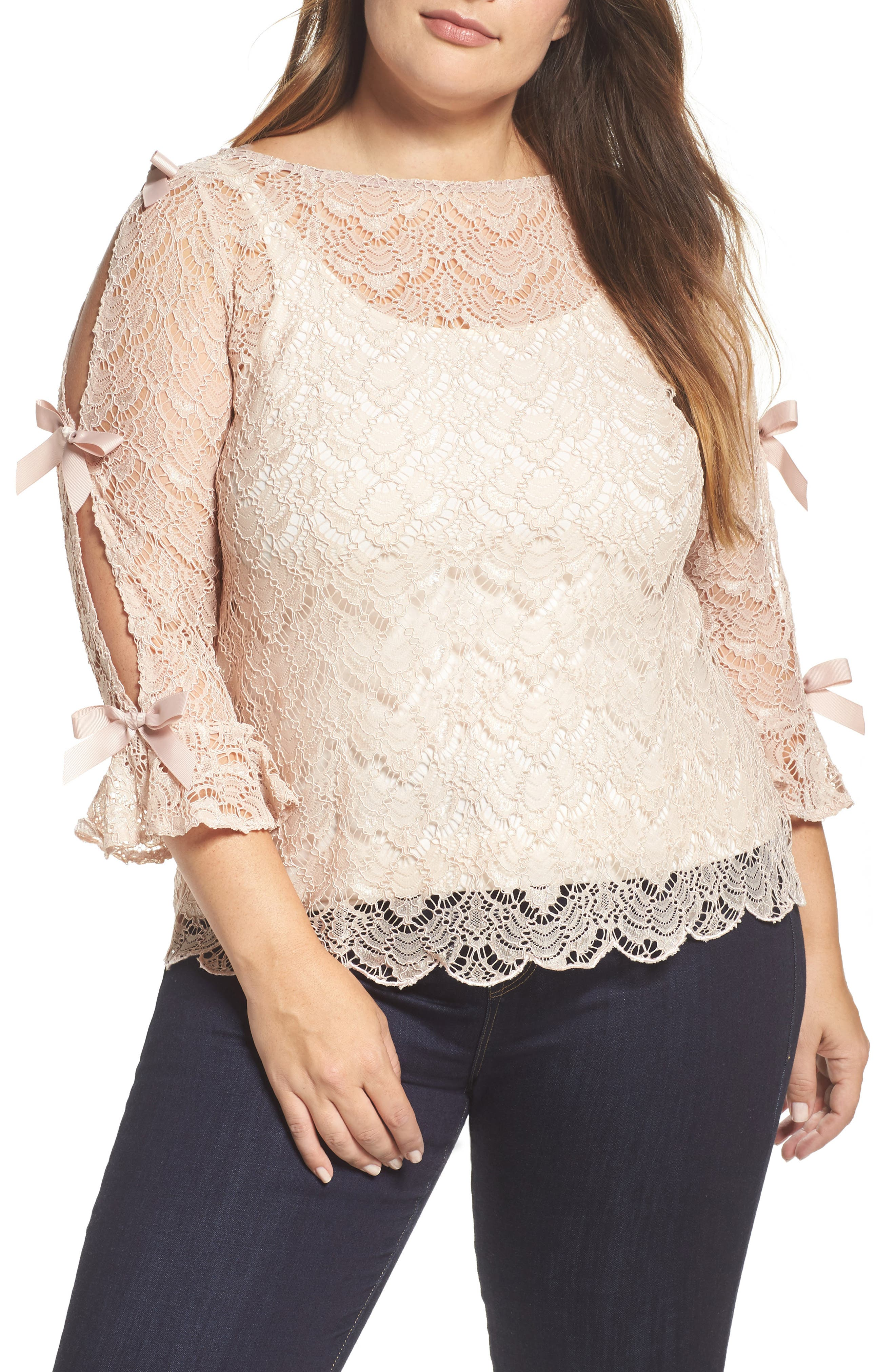 Bow Sleeve Lace Top,                         Main,                         color, Nude