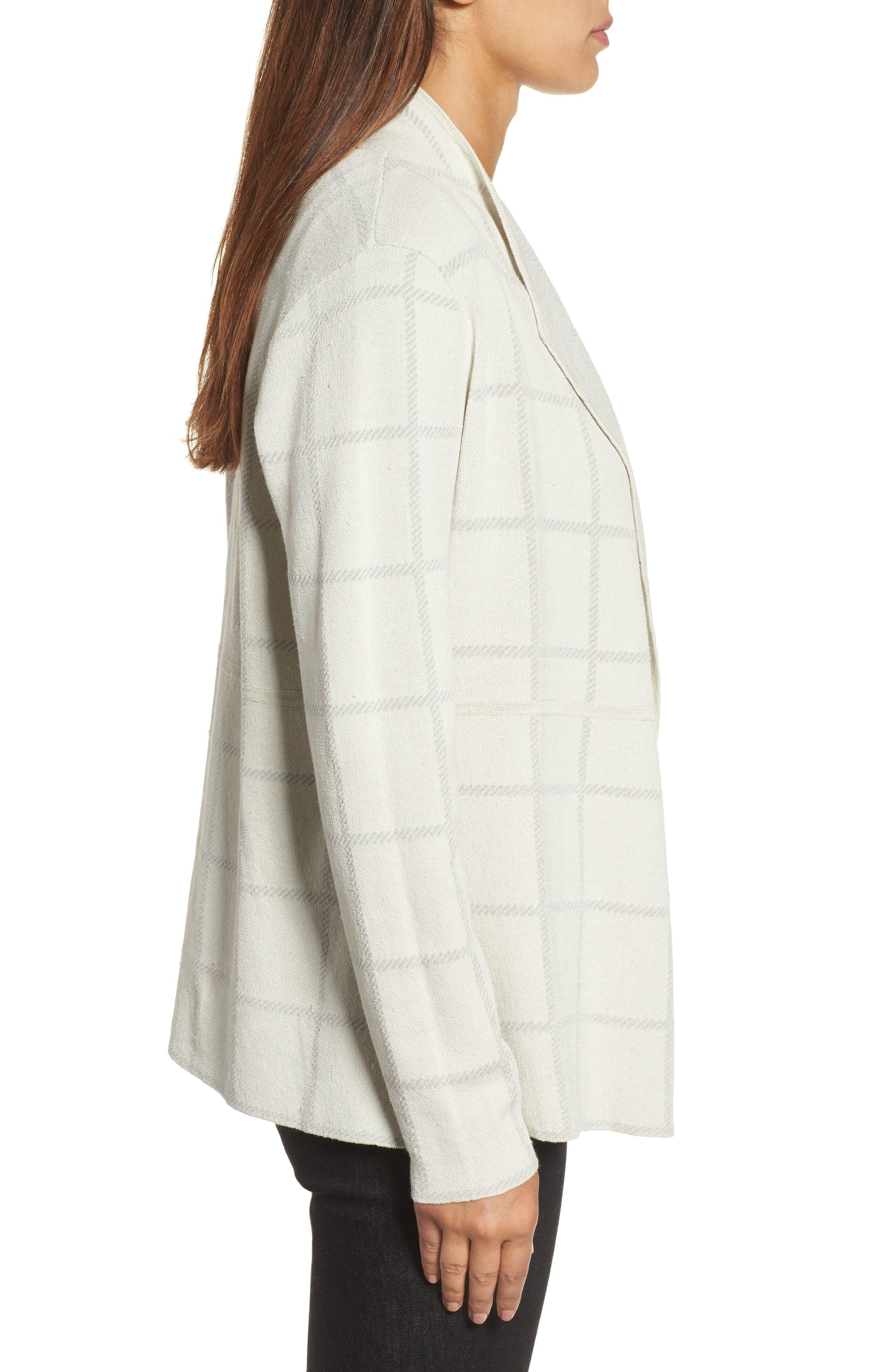 Alternate Image 3  - Eileen Fisher Linen Blend Angle Front Cardigan