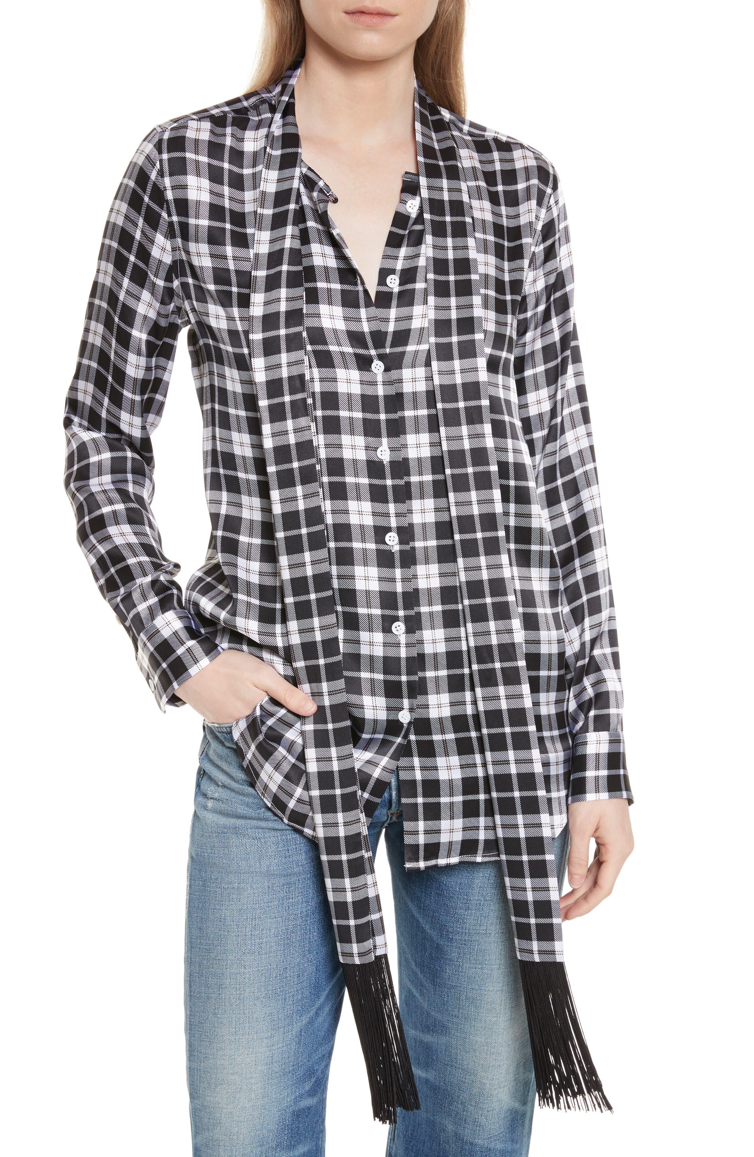 Essential Tie Neck Silk Shirt,                             Main thumbnail 1, color,                             Bright White-Palo Sa