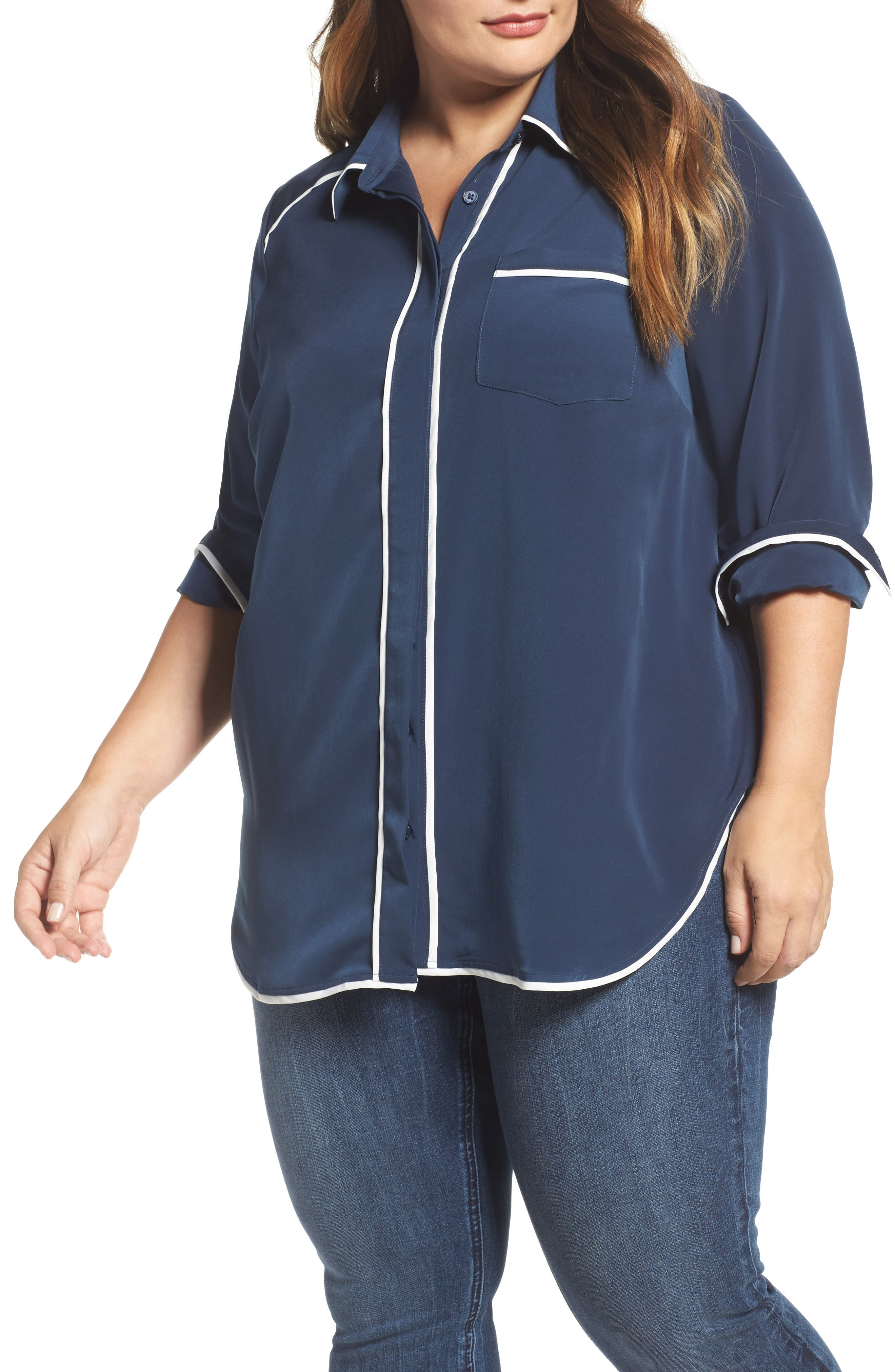 Pajama Blouse,                         Main,                         color, Dress Blue W/ Egret Piping