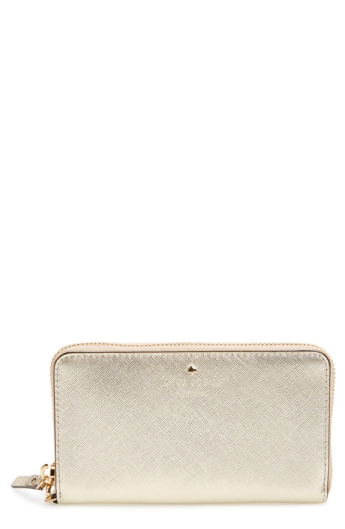 'cedar street - jordie' zip around leather wallet,                         Main,                         color, Gold