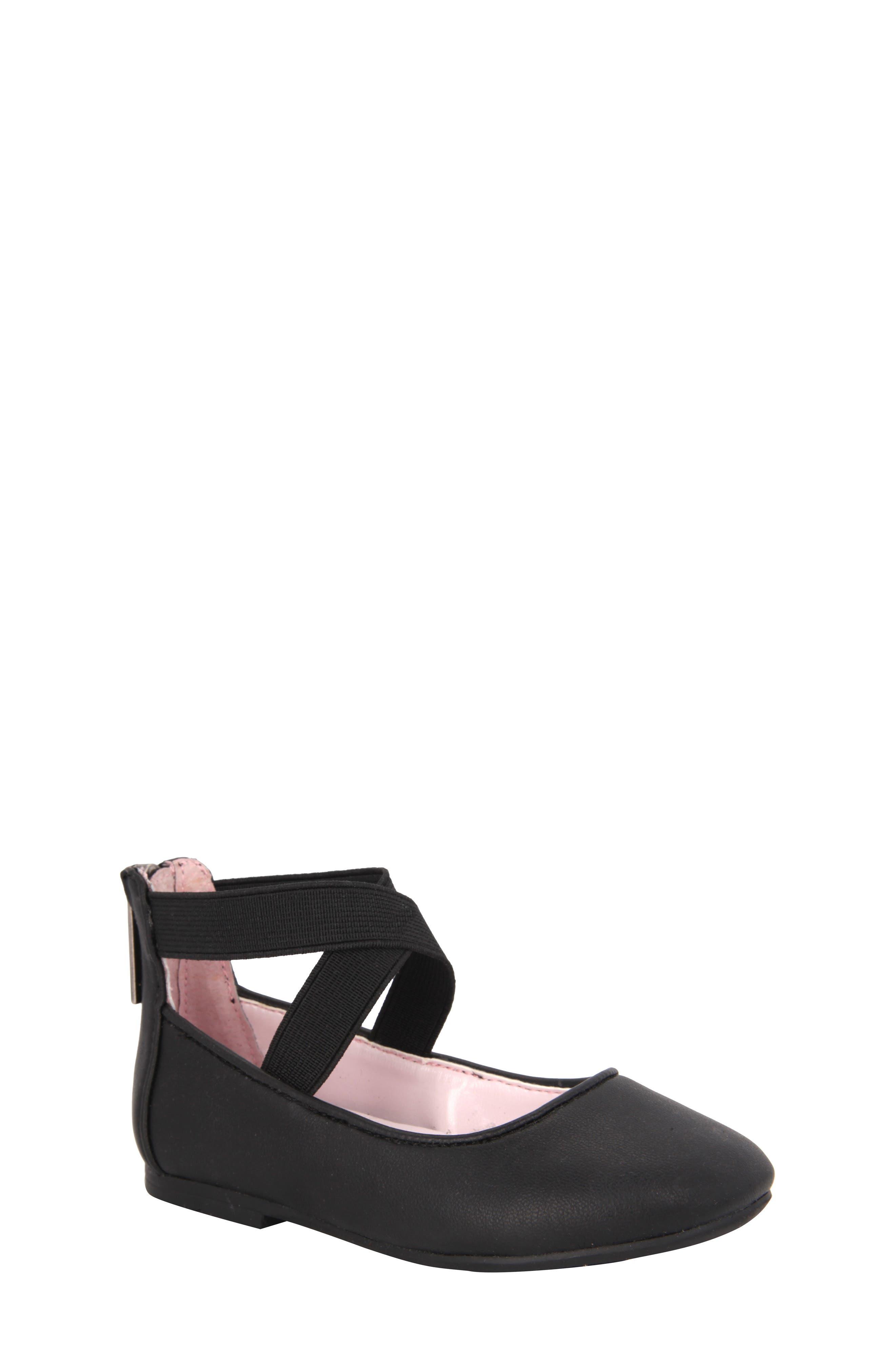 Marissa Cross Strap Flat,                             Main thumbnail 1, color,                             Black Faux Leather