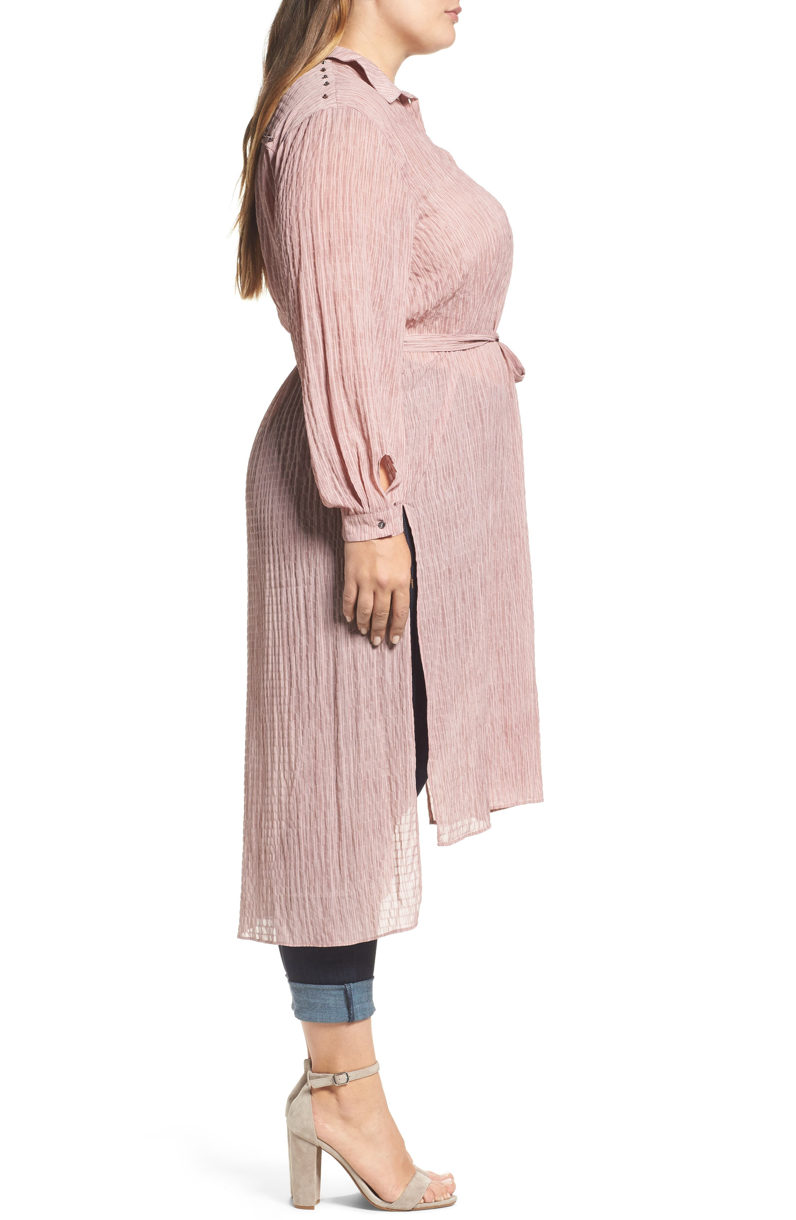 High/Low Shirtdress,                             Alternate thumbnail 3, color,                             Pink
