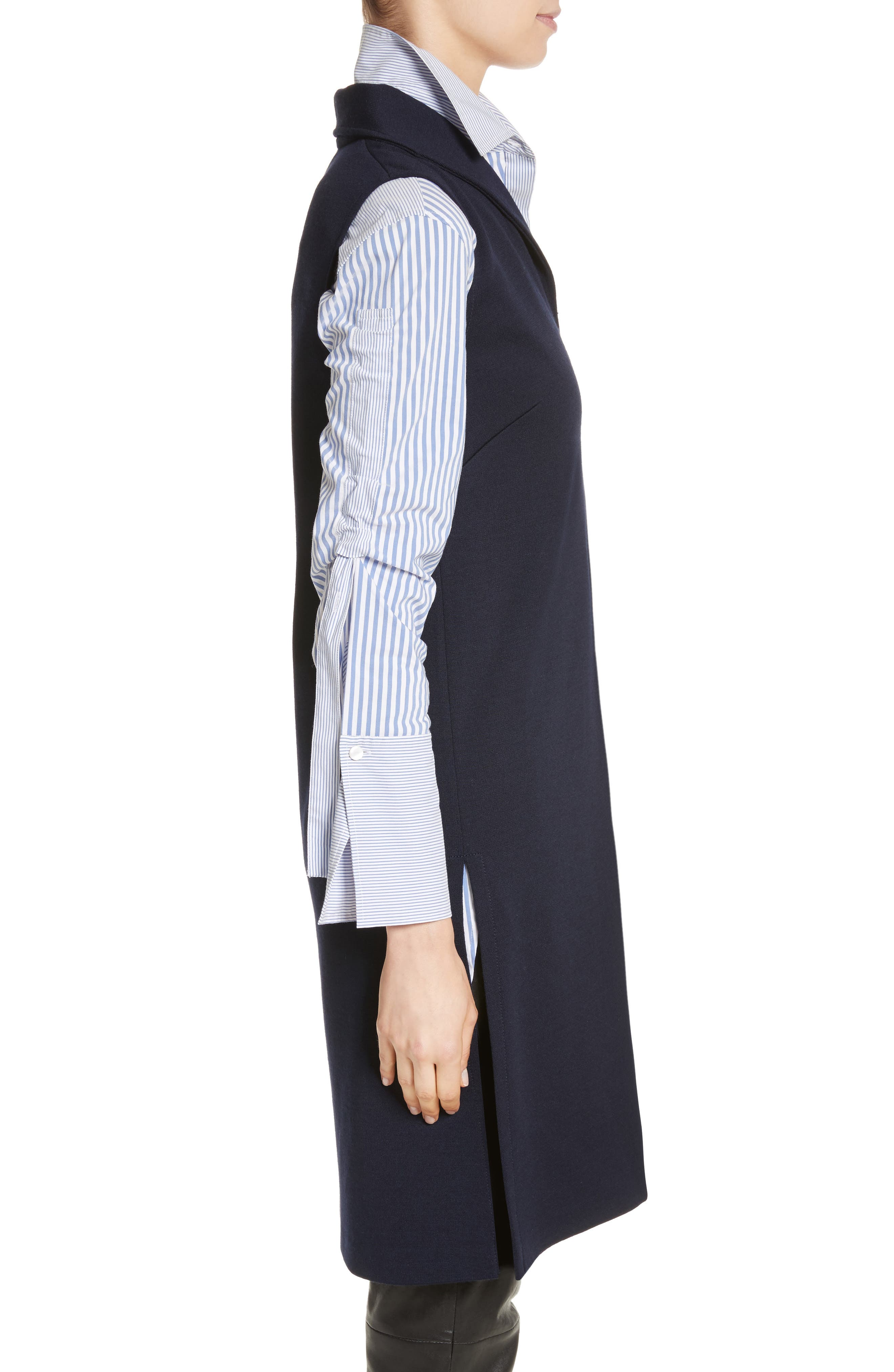 St John Collection Milano Knit Collared Tunic,                             Alternate thumbnail 3, color,                             Navy