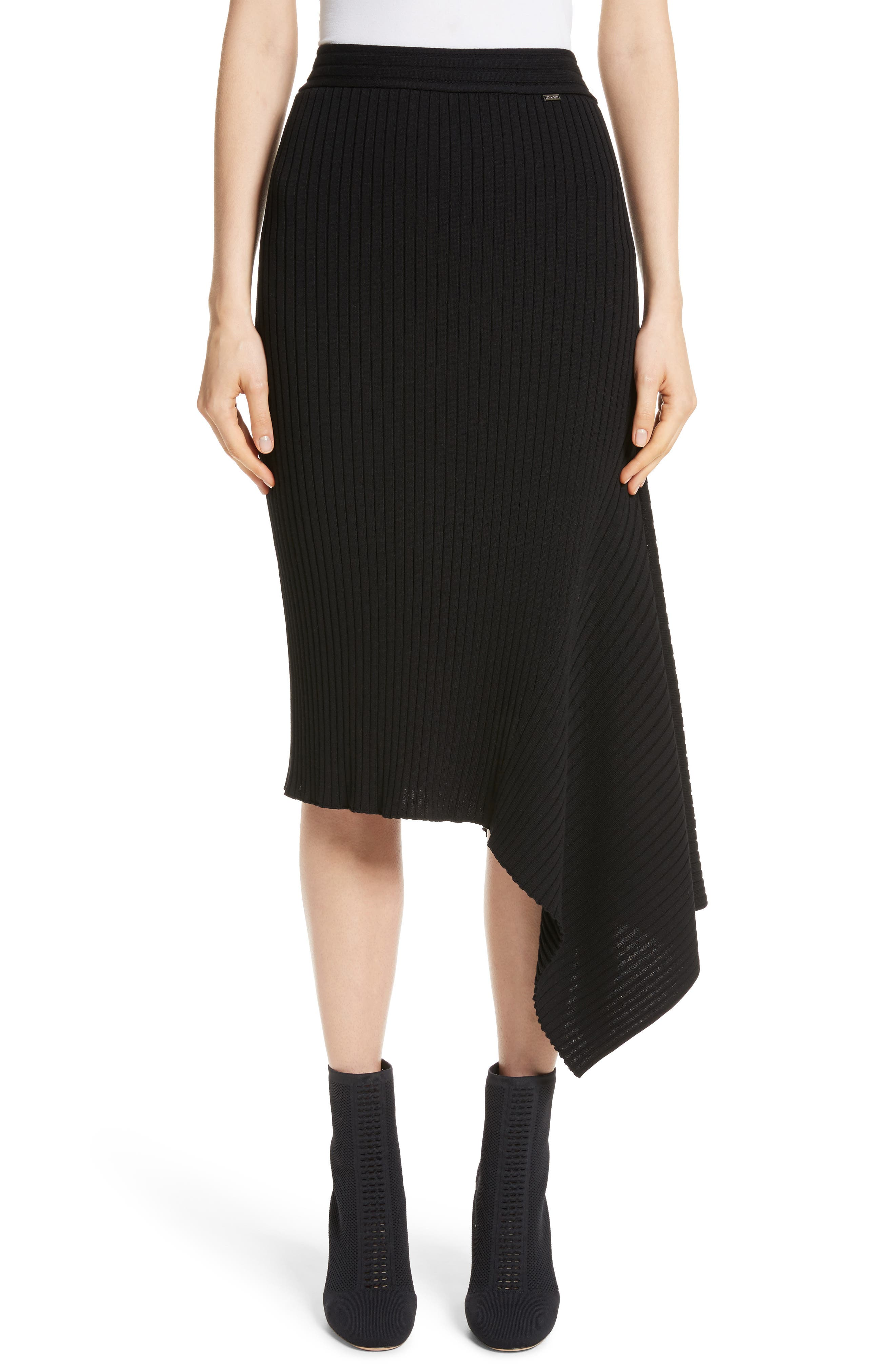 Flat Rib Knit Asymmetrical Skirt,                             Main thumbnail 1, color,                             Caviar