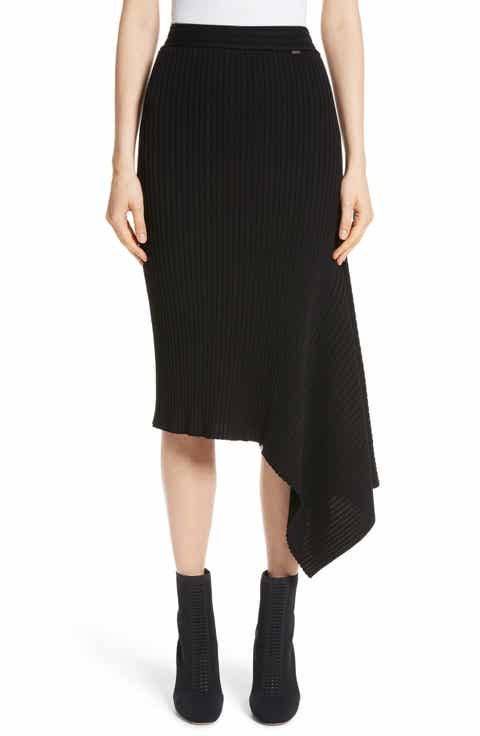 St. John Collection Flat Rib Knit Asymmetrical Skirt