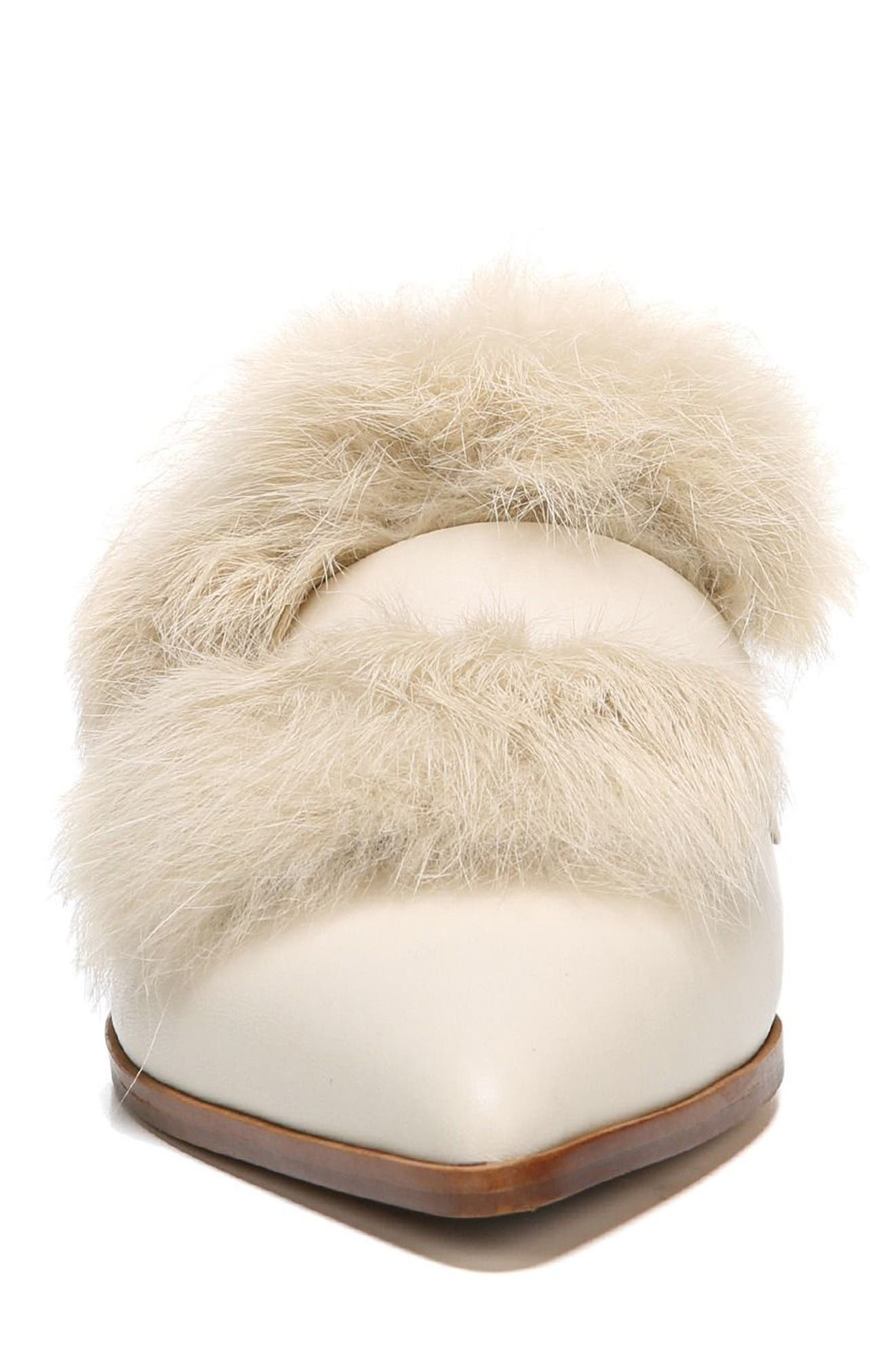 Palmer II Genuine Rabbit Fur Slide,                             Alternate thumbnail 4, color,                             Winter White Leather