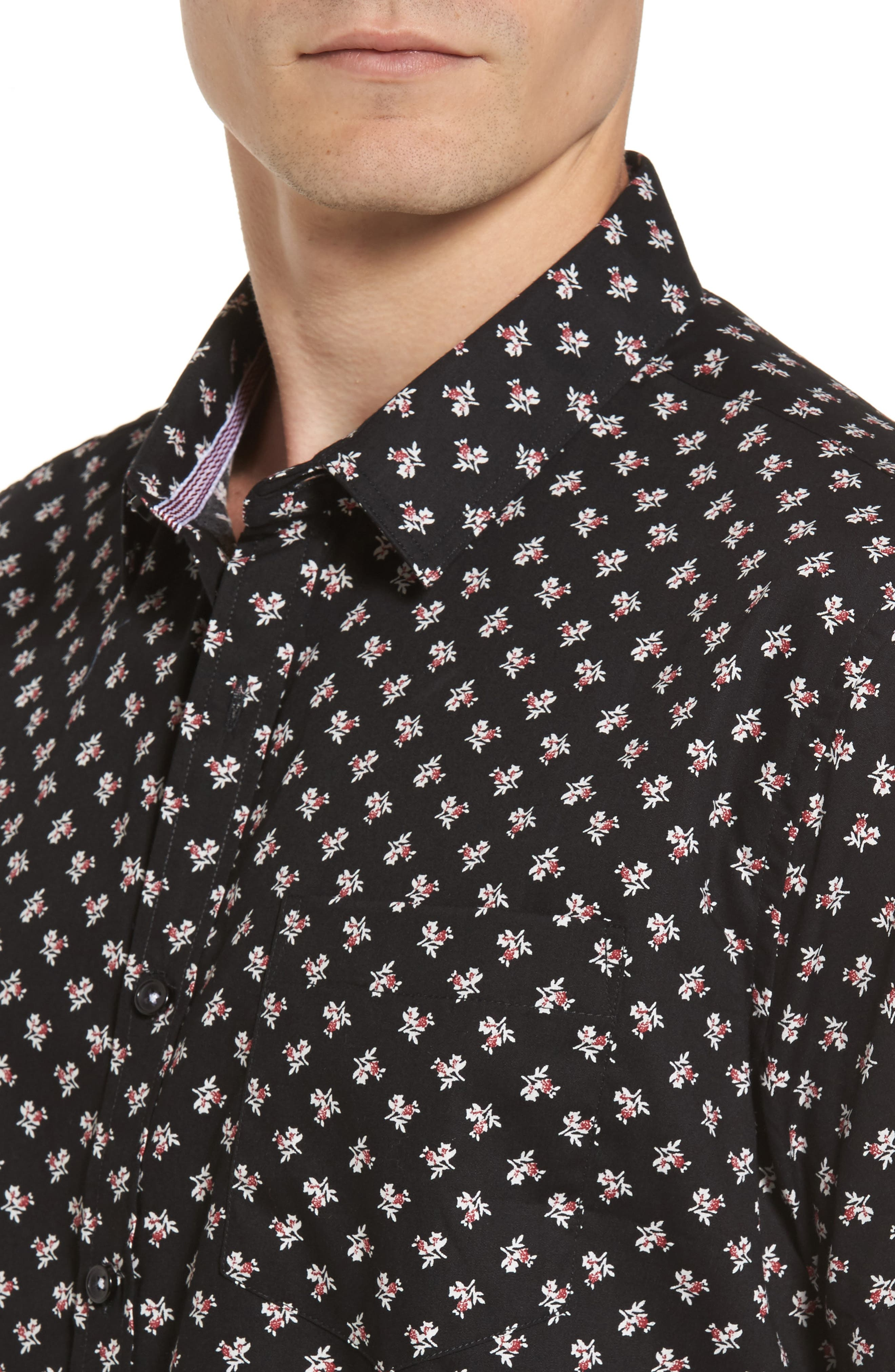 Shadow Dancing Print Woven Shirt,                             Alternate thumbnail 4, color,                             Black