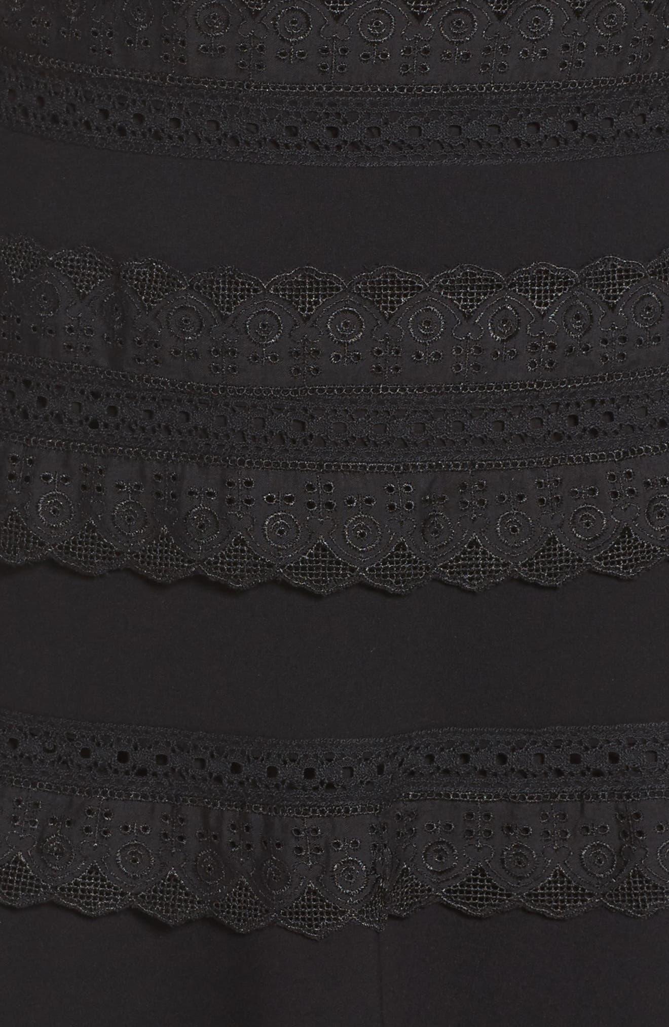 Preslie Double Knit A-Line Dress,                             Alternate thumbnail 5, color,                             Black