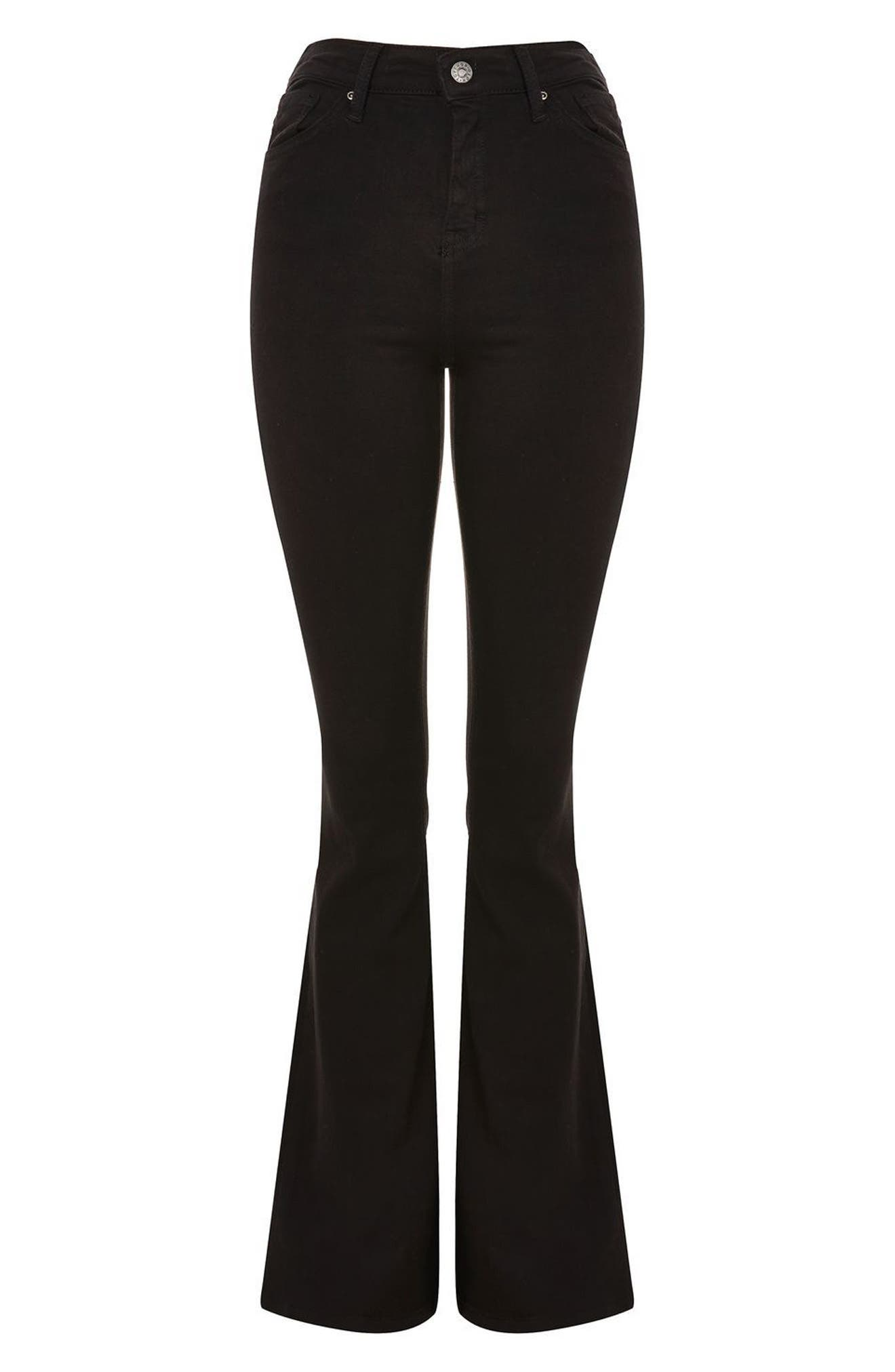 Jamie High Waist Flare Jeans,                             Alternate thumbnail 4, color,                             Black