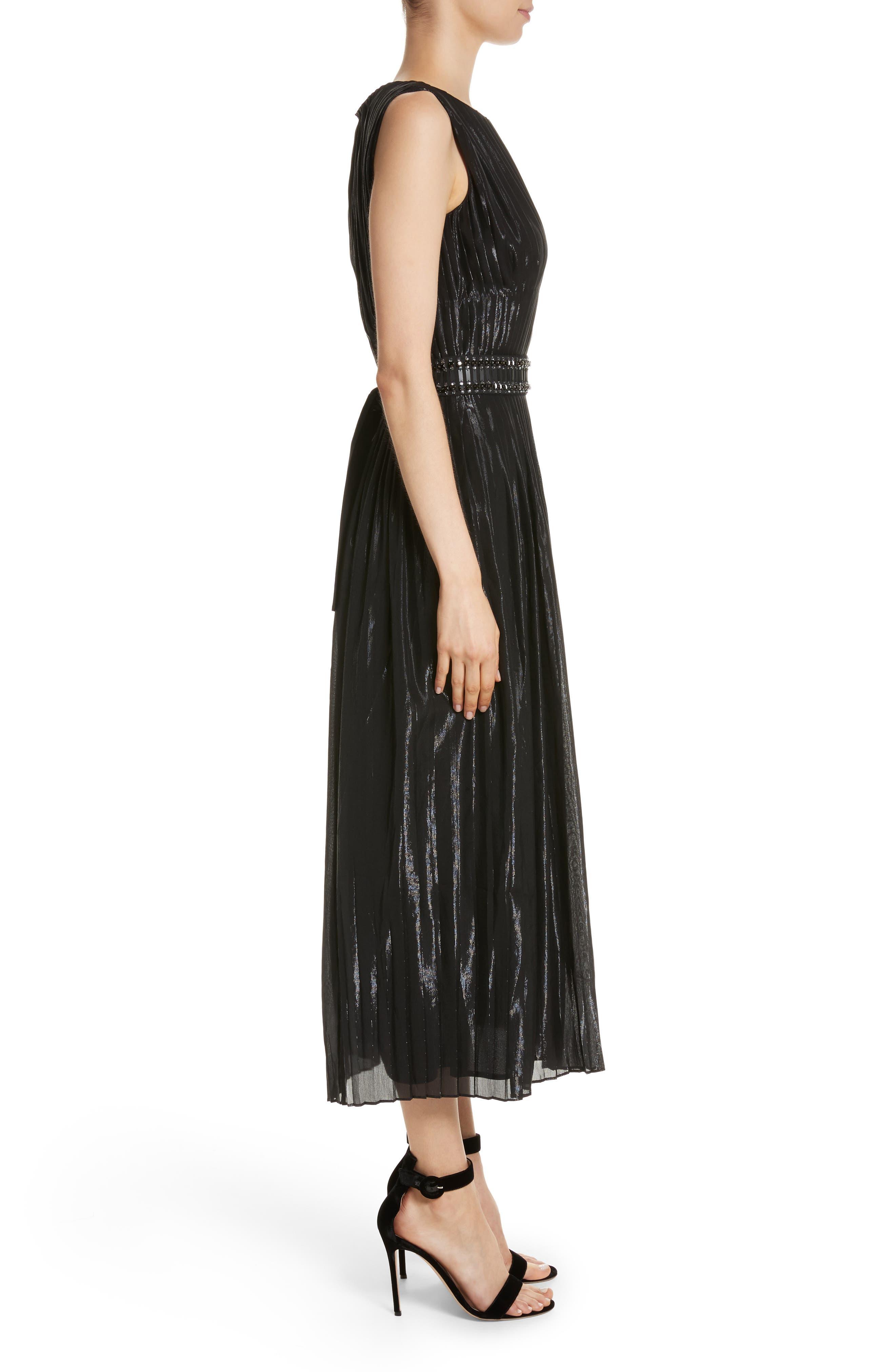 Alternate Image 3  - St. John Collection Pleated Chiffon Midi Dress