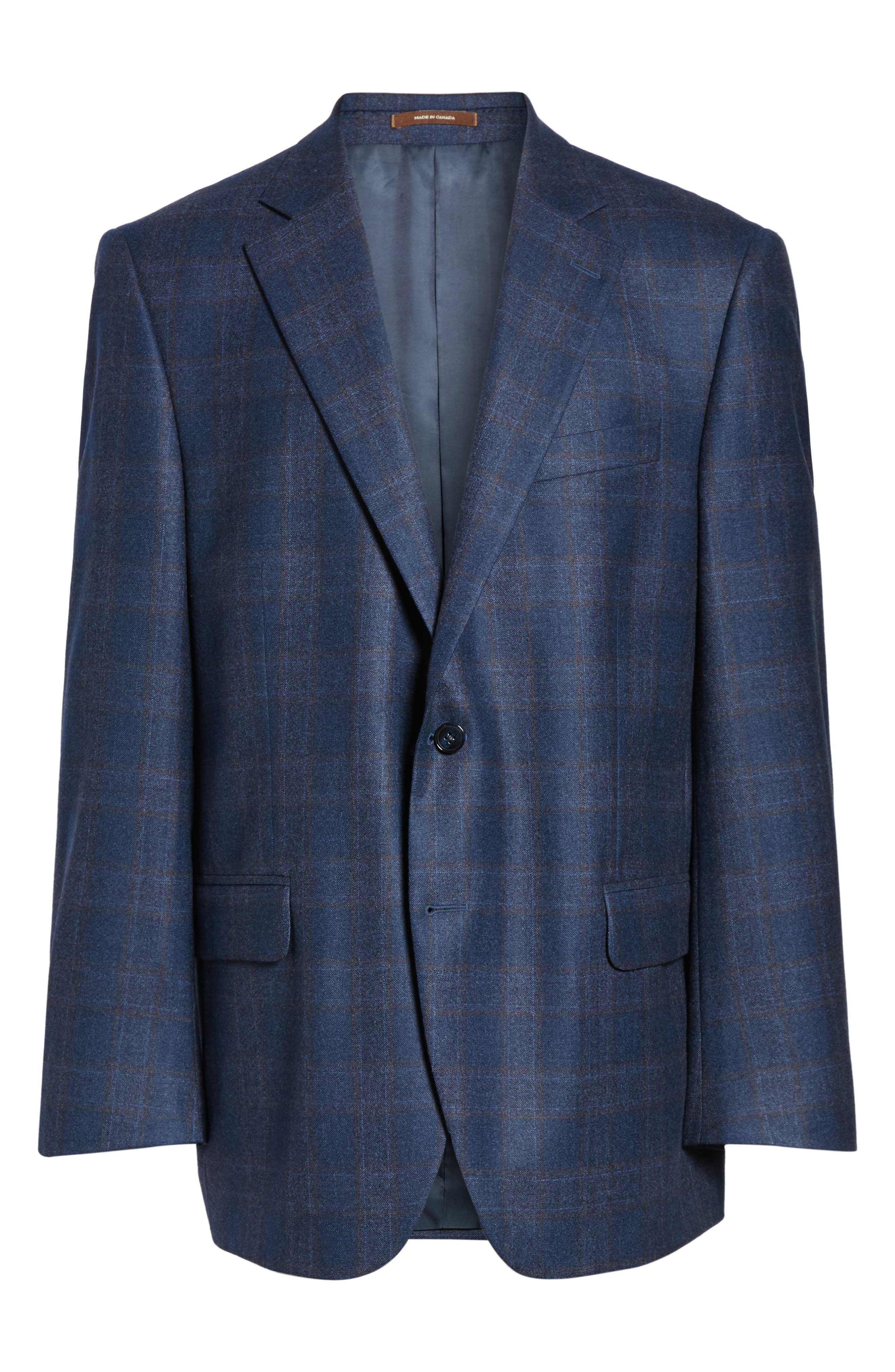 Flynn Classic Fit Plaid Wool Sport Coat,                             Alternate thumbnail 6, color,                             Blue