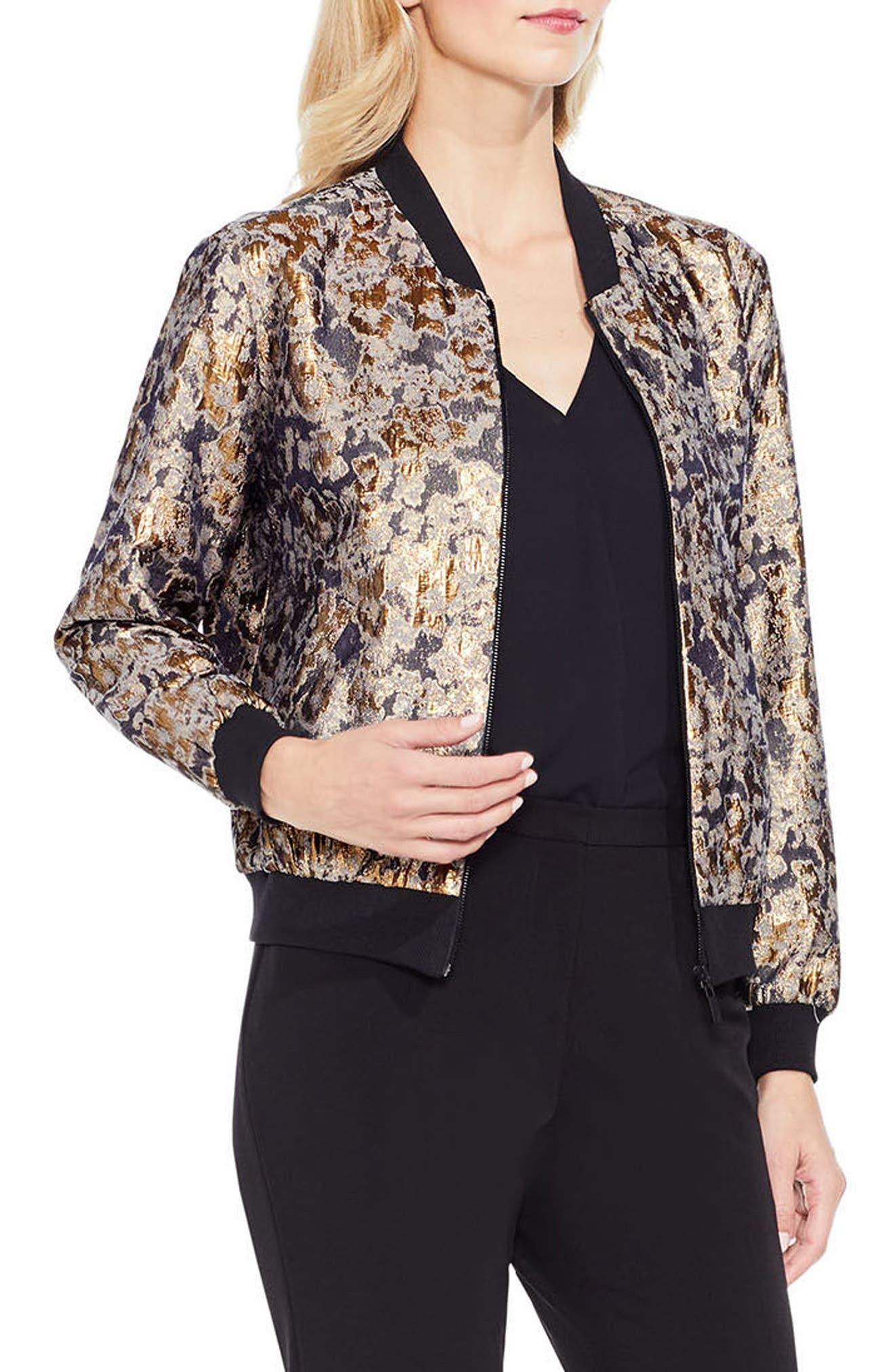 Gold Foil Bomber Jacket,                         Main,                         color, Gold