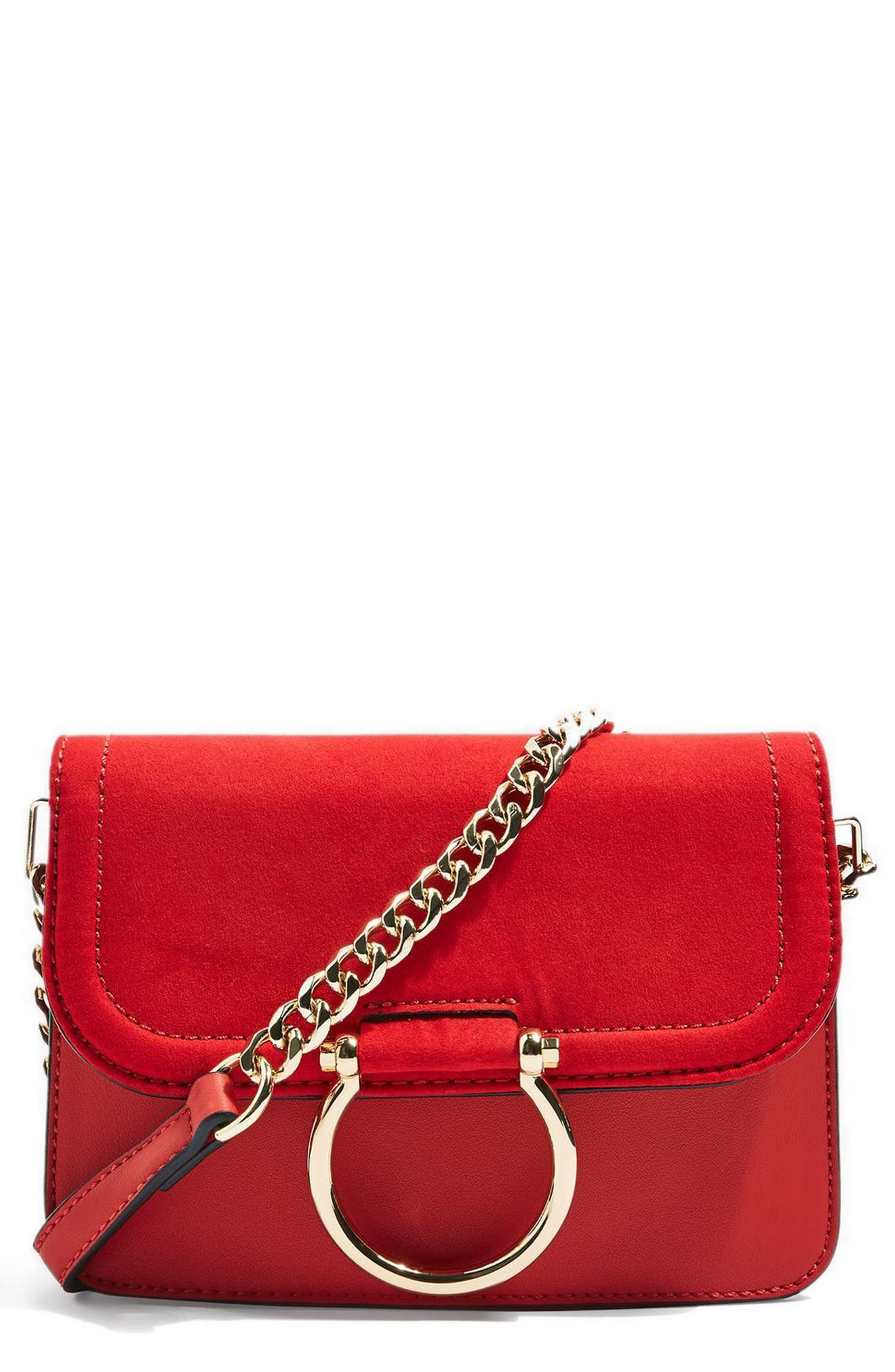 Alternate Image 1 Selected - Topshop Remy Trophy Faux Leather Crossbody Bag