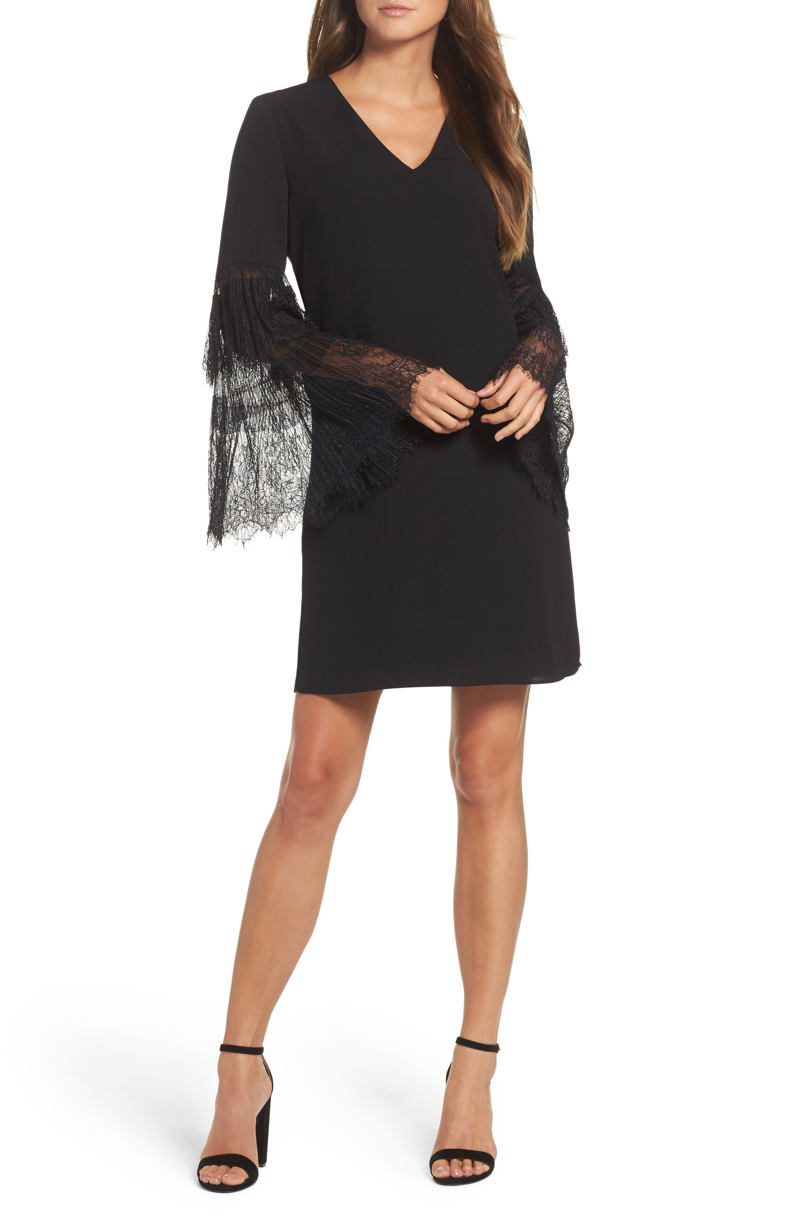 Suki Lace Sleeve Shift Dress,                             Main thumbnail 1, color,                             Black