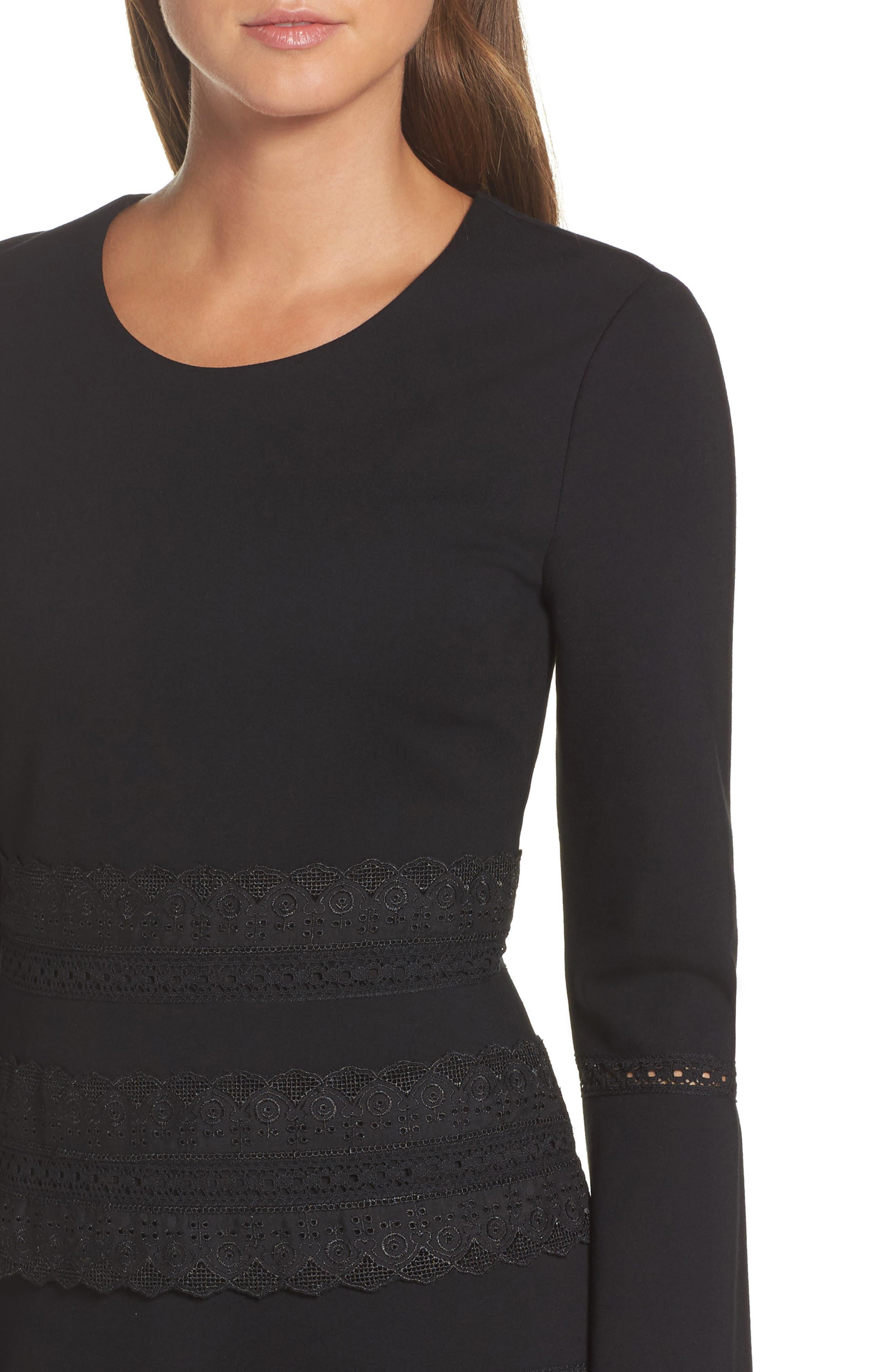 Preslie Double Knit A-Line Dress,                             Alternate thumbnail 4, color,                             Black