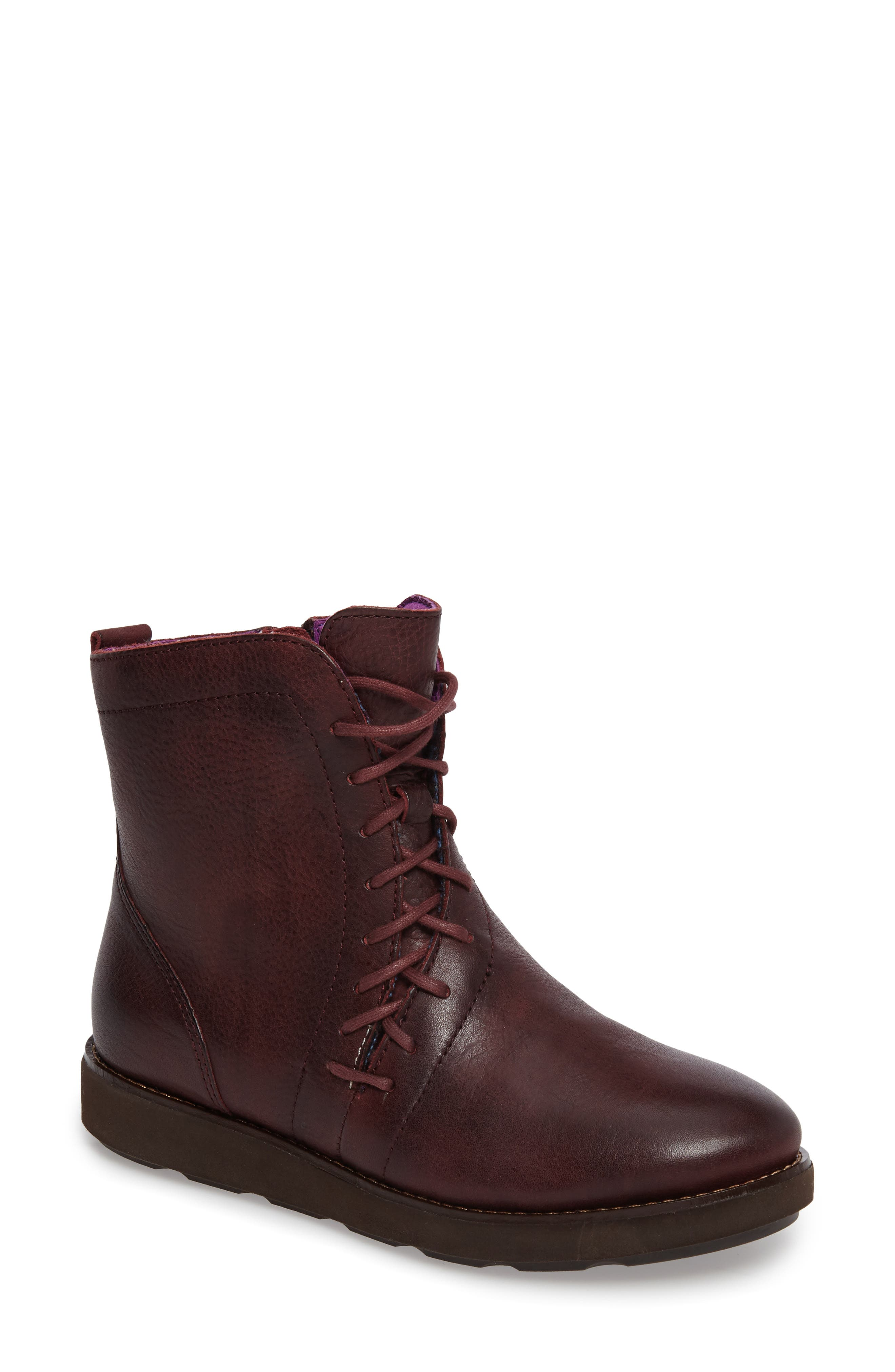Corset II Bootie,                         Main,                         color, Marsala Red Leather