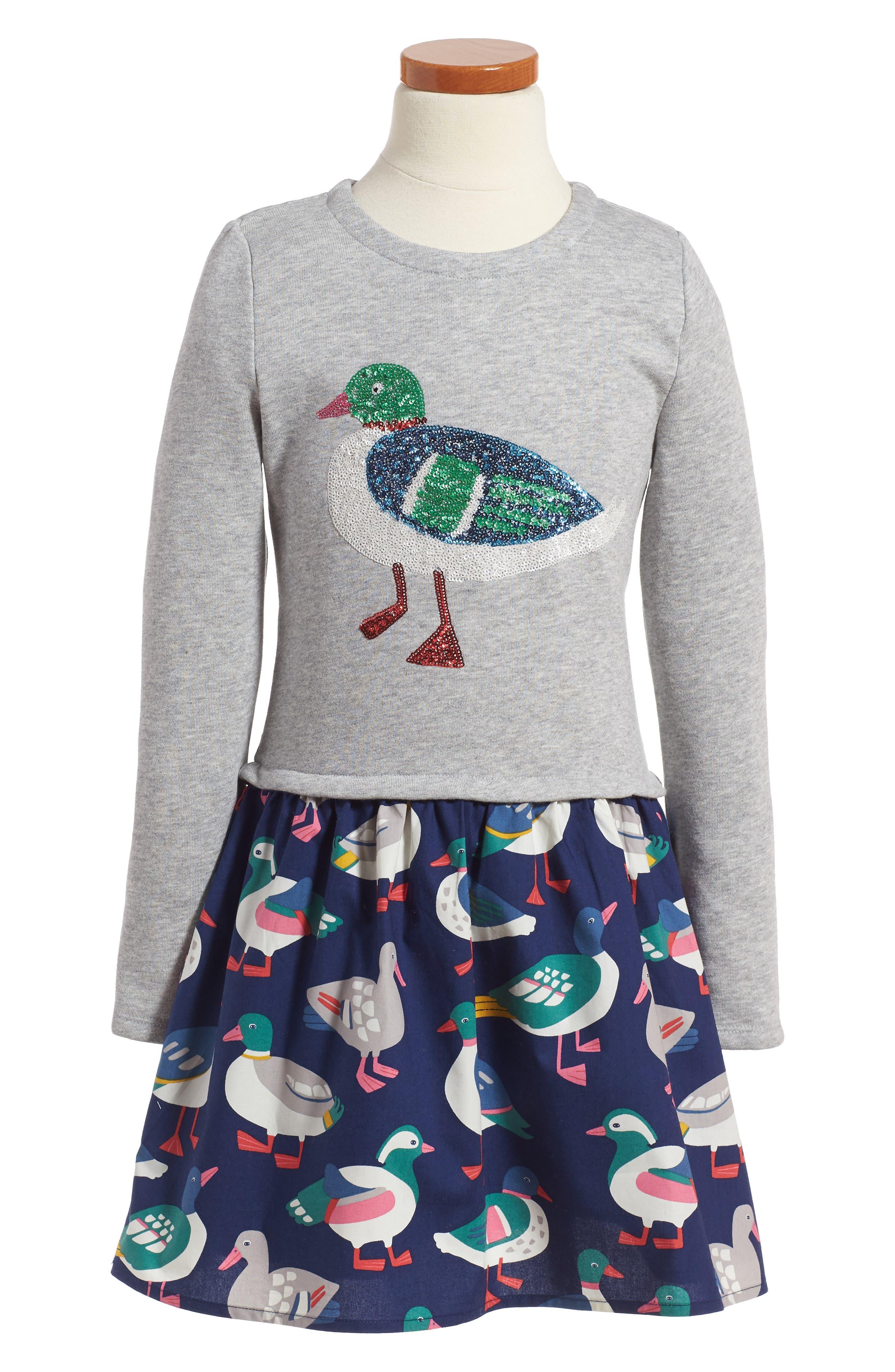Mini Boden Sequin Appliqué Sweater Dress (Toddler Girls, Little Girls & Big Girls)