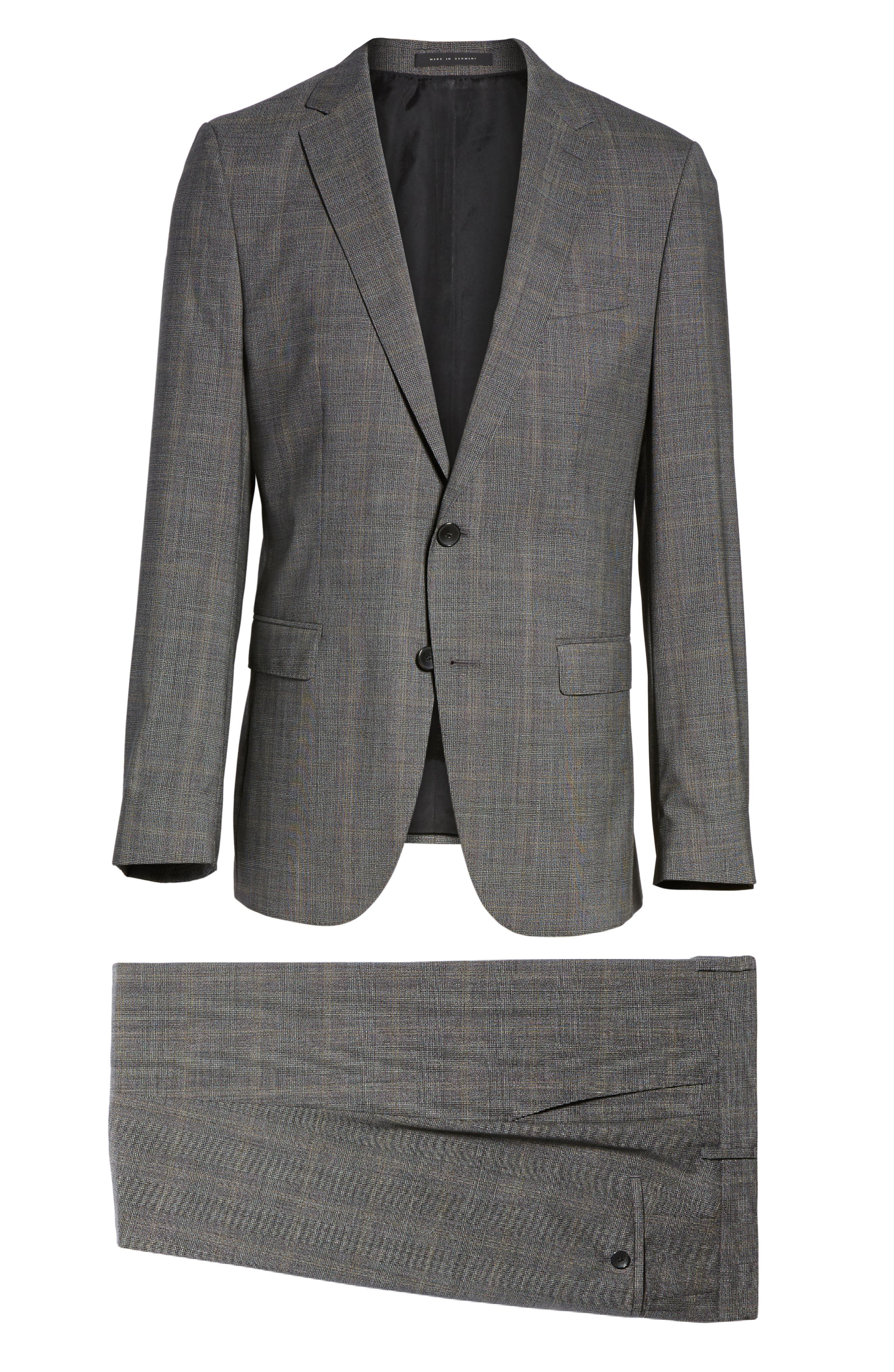 Novan/Ben Trim Fit Plaid Wool Suit,                             Alternate thumbnail 8, color,                             Black