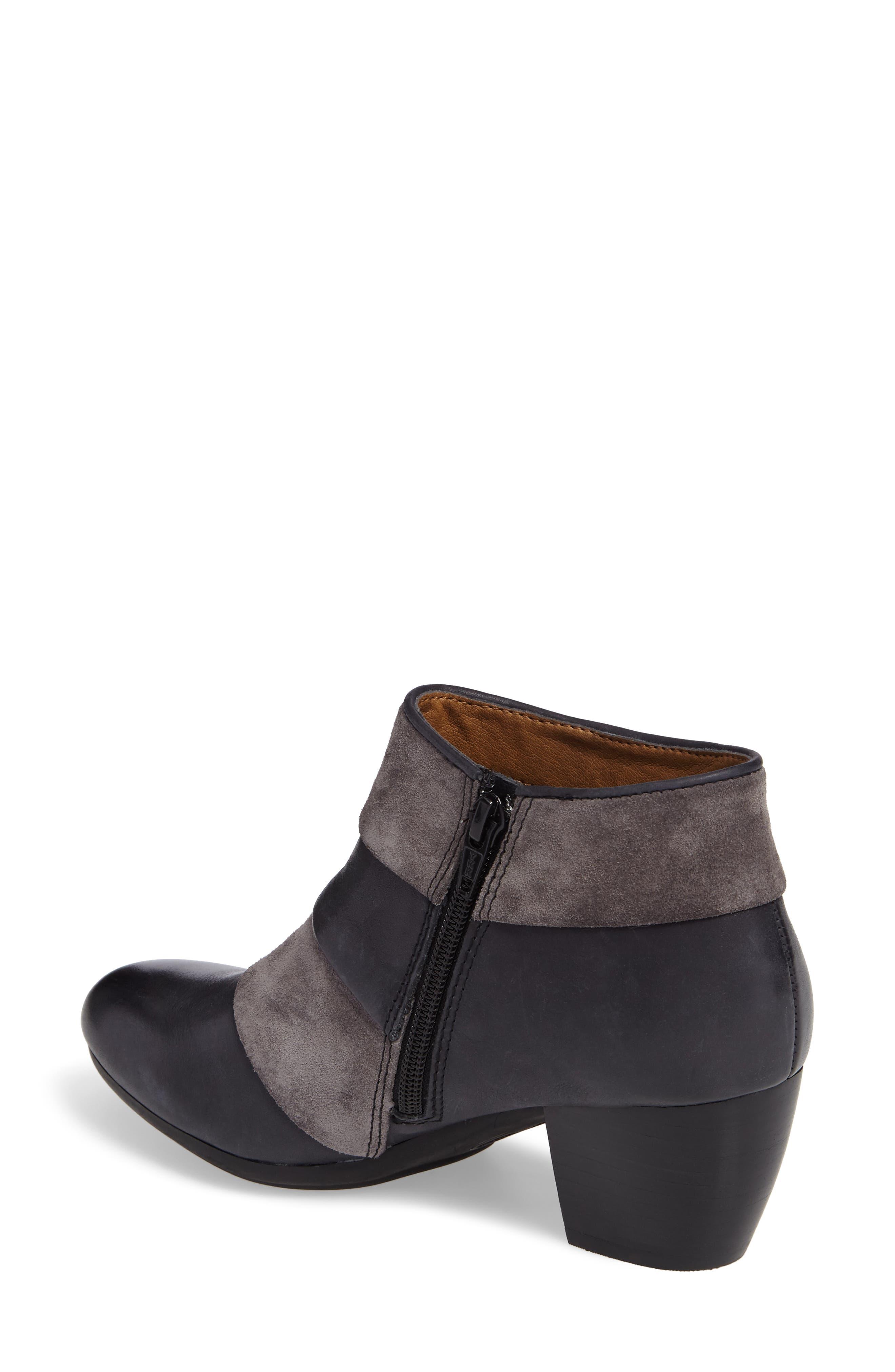 Amesbury Colorblock Bootie,                             Alternate thumbnail 2, color,                             Black/ Steel Grey Leather