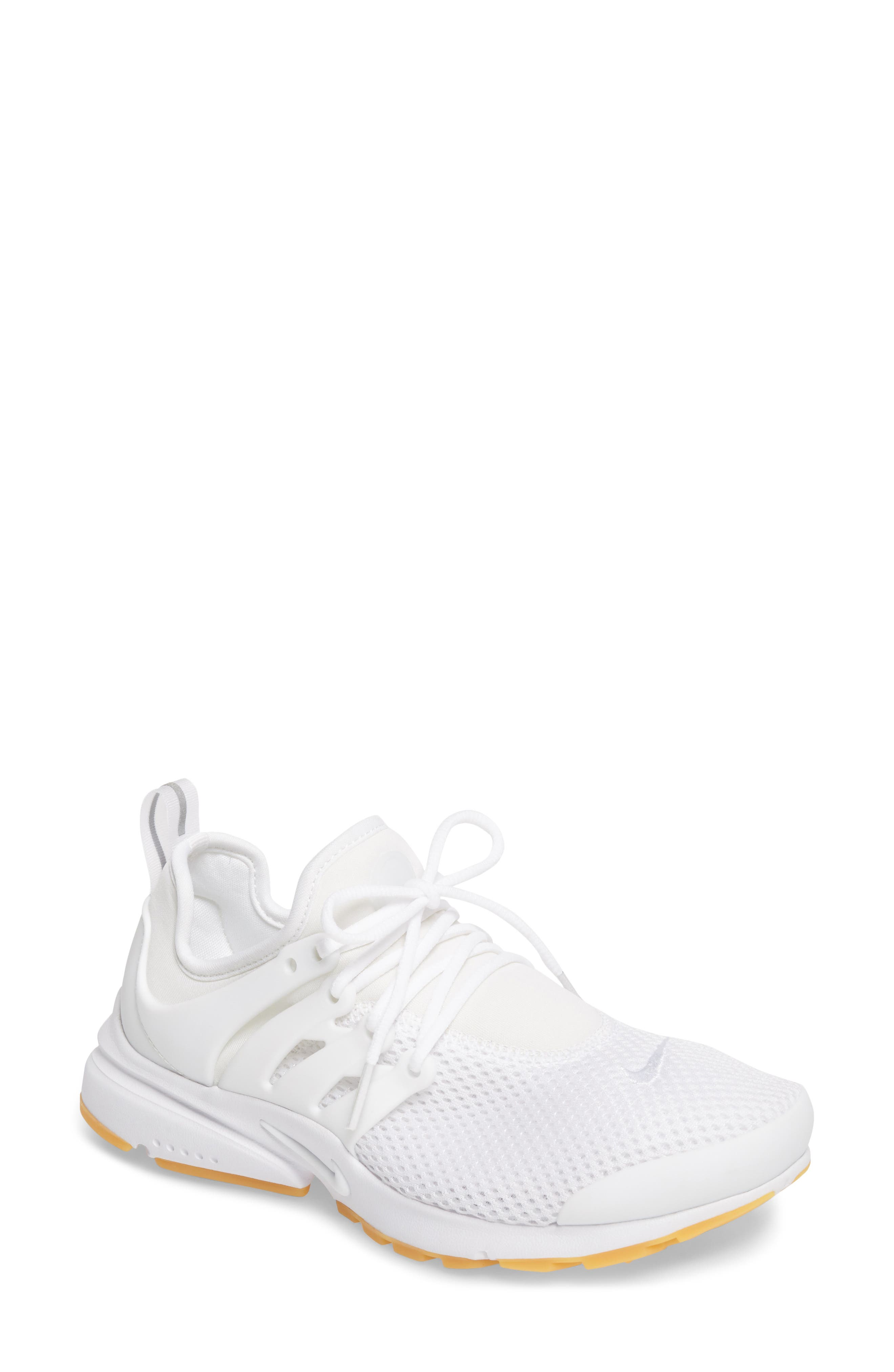 Air Presto Flyknit Ultra Sneaker,                         Main,                         color, White/ Gum Yellow/ Wolf Grey
