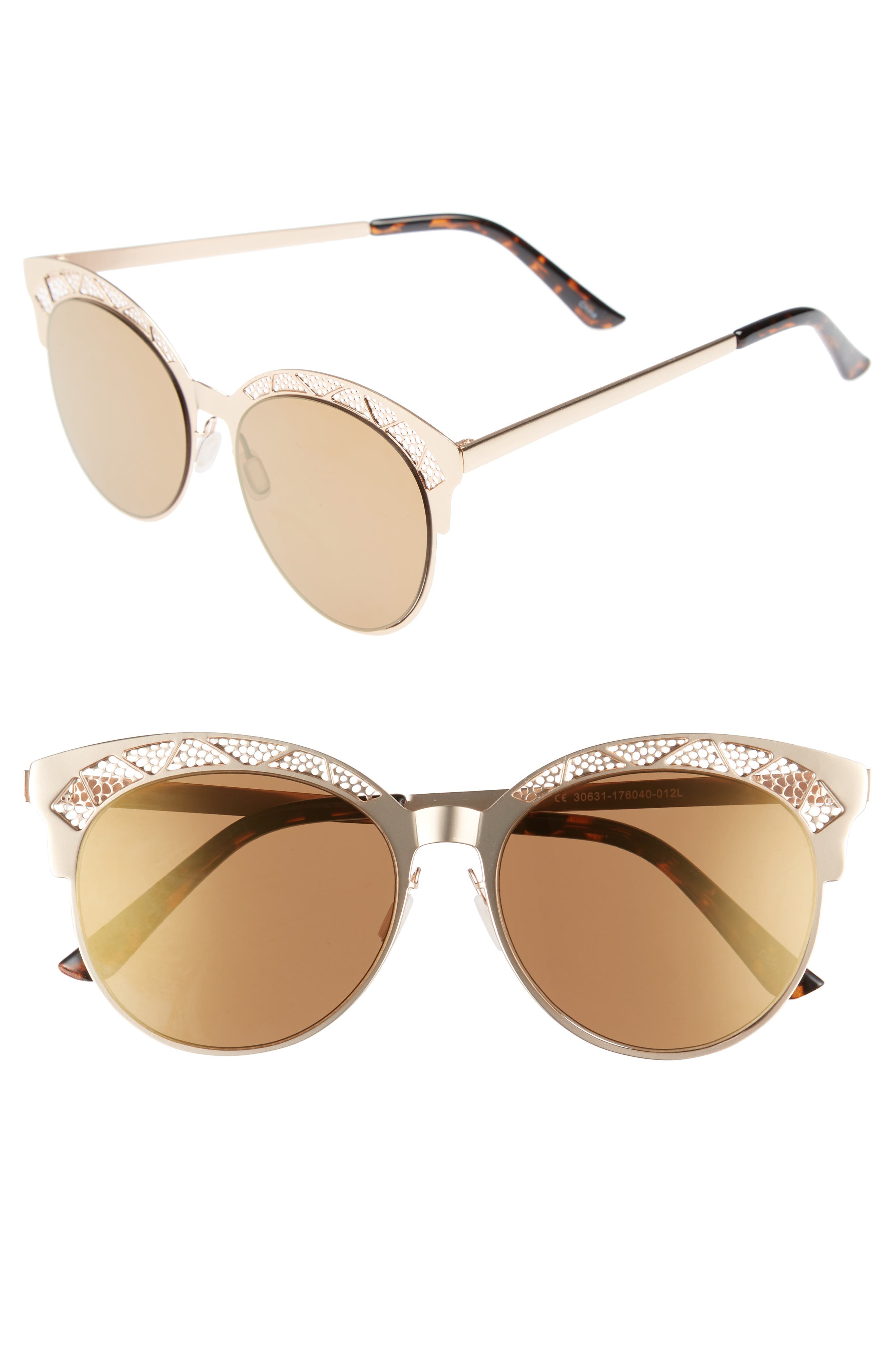 56mm Round Sunglasses,                         Main,                         color, Gold/ Brown