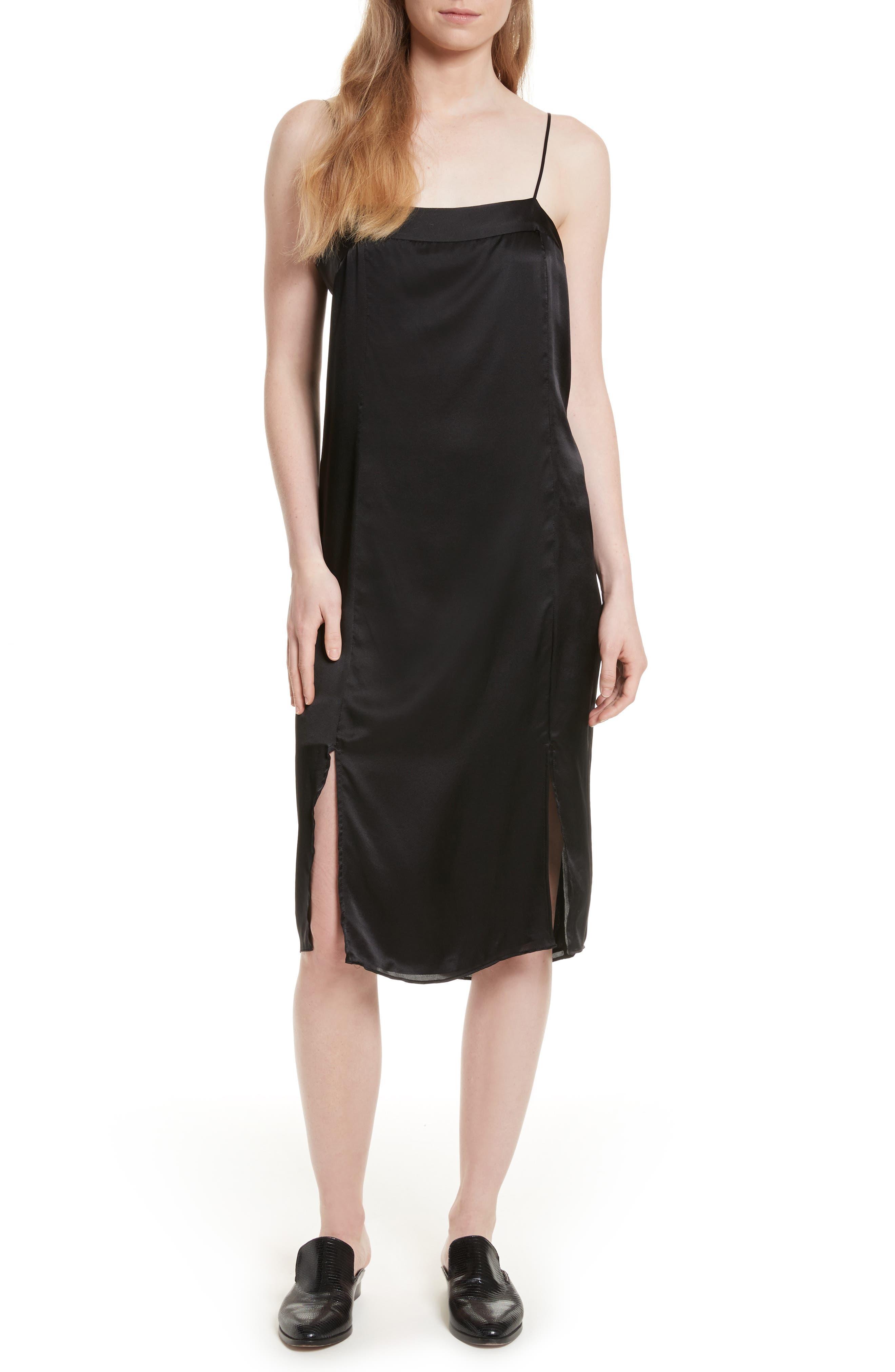 Kelby Silk Slipdress,                             Main thumbnail 1, color,                             True Black
