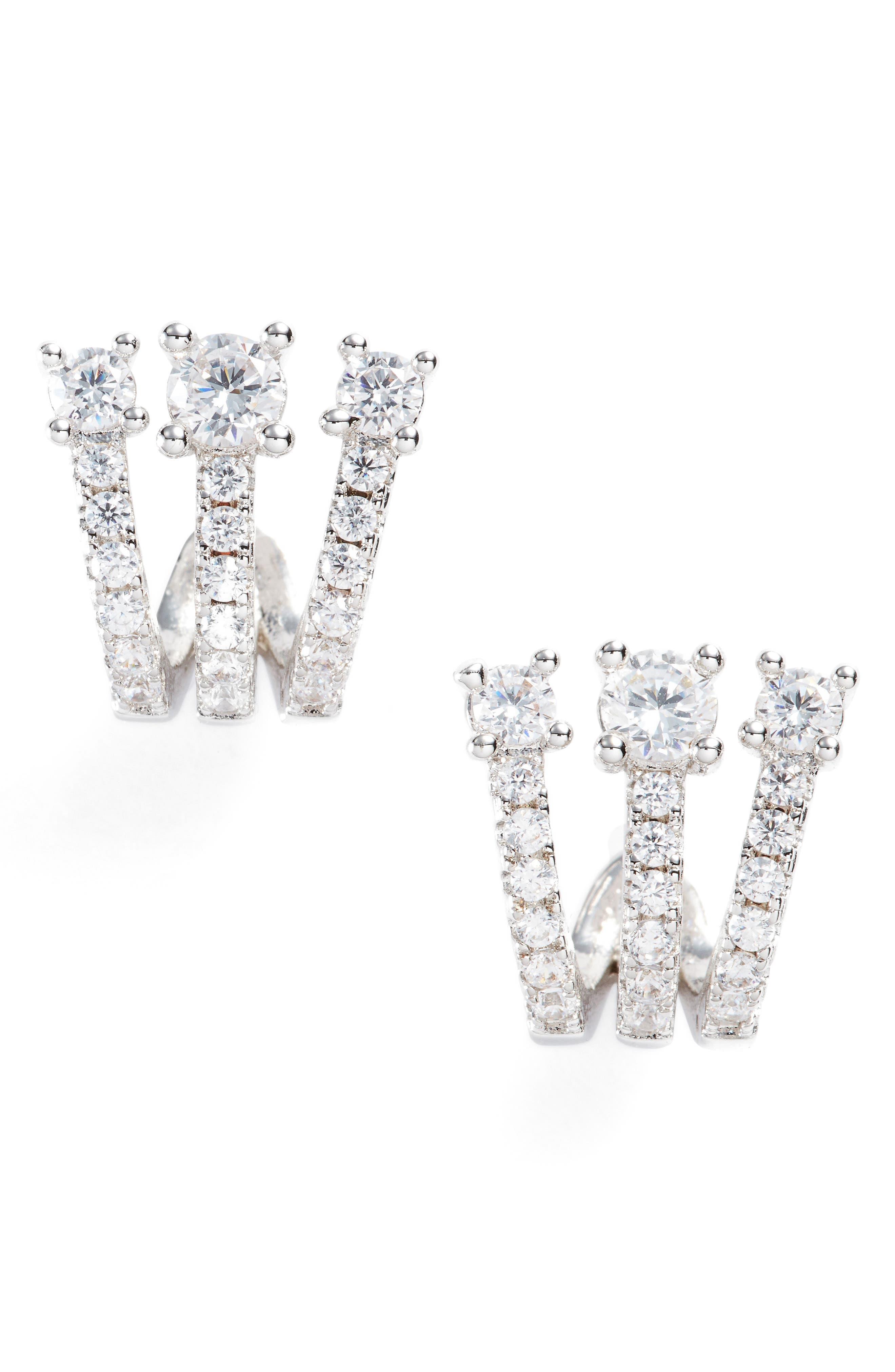 Katherine Crystal Huggie Earrings,                         Main,                         color, Silver