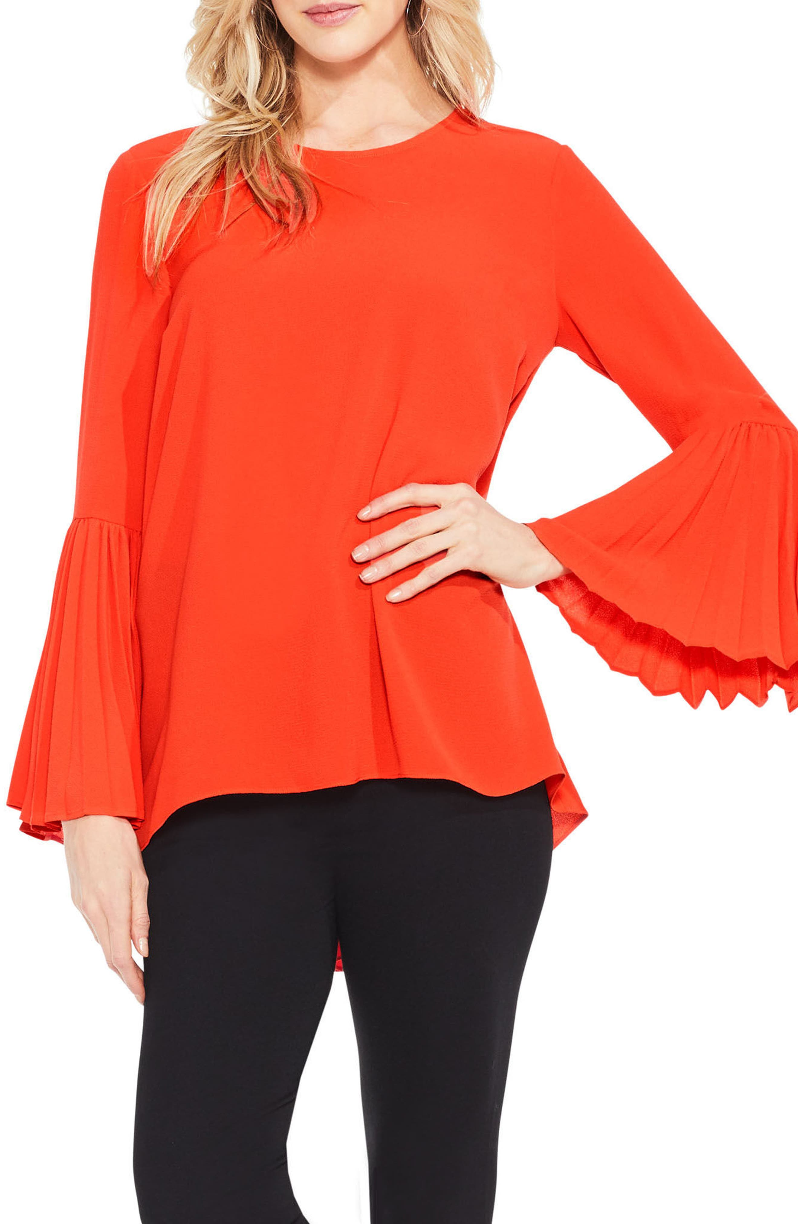 Vince Camuto Pleat Bell Sleeve Blouse (Regular & Petite)
