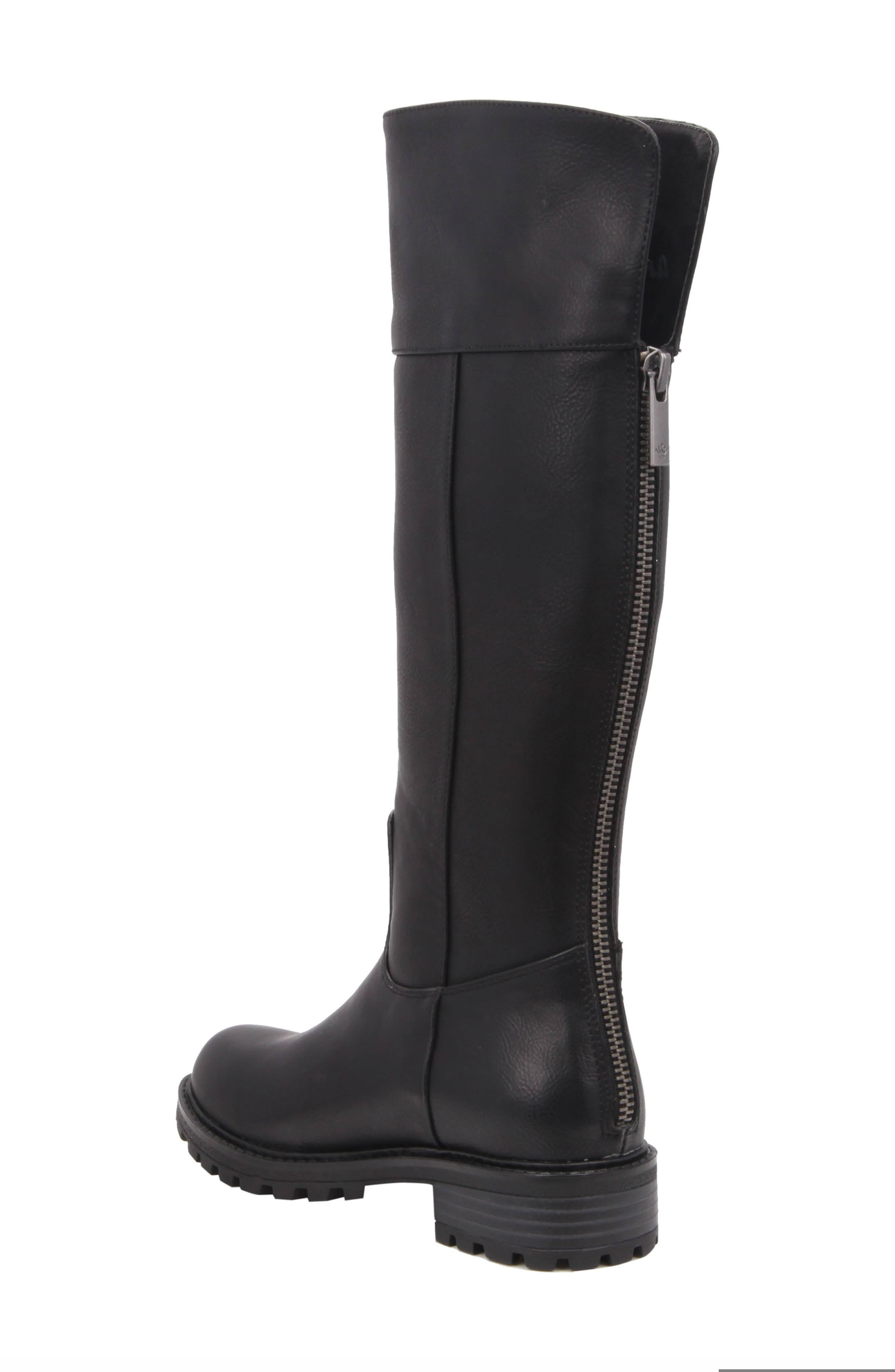 Nixie Tall Lugged Boot,                             Alternate thumbnail 2, color,                             Black Tumbled Leather